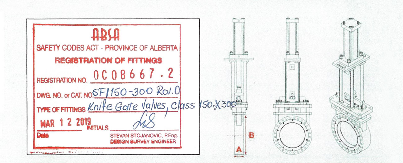 Oreacle knife gate valve CRN stamp