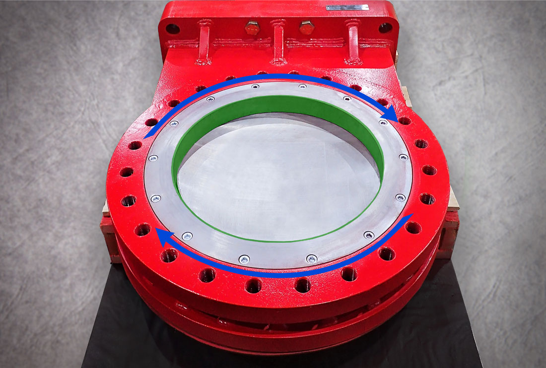 Oreacle knife gate valve bore liner features