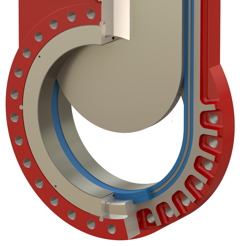 Oreacle knife gate valve Class V, wear resistant seat
