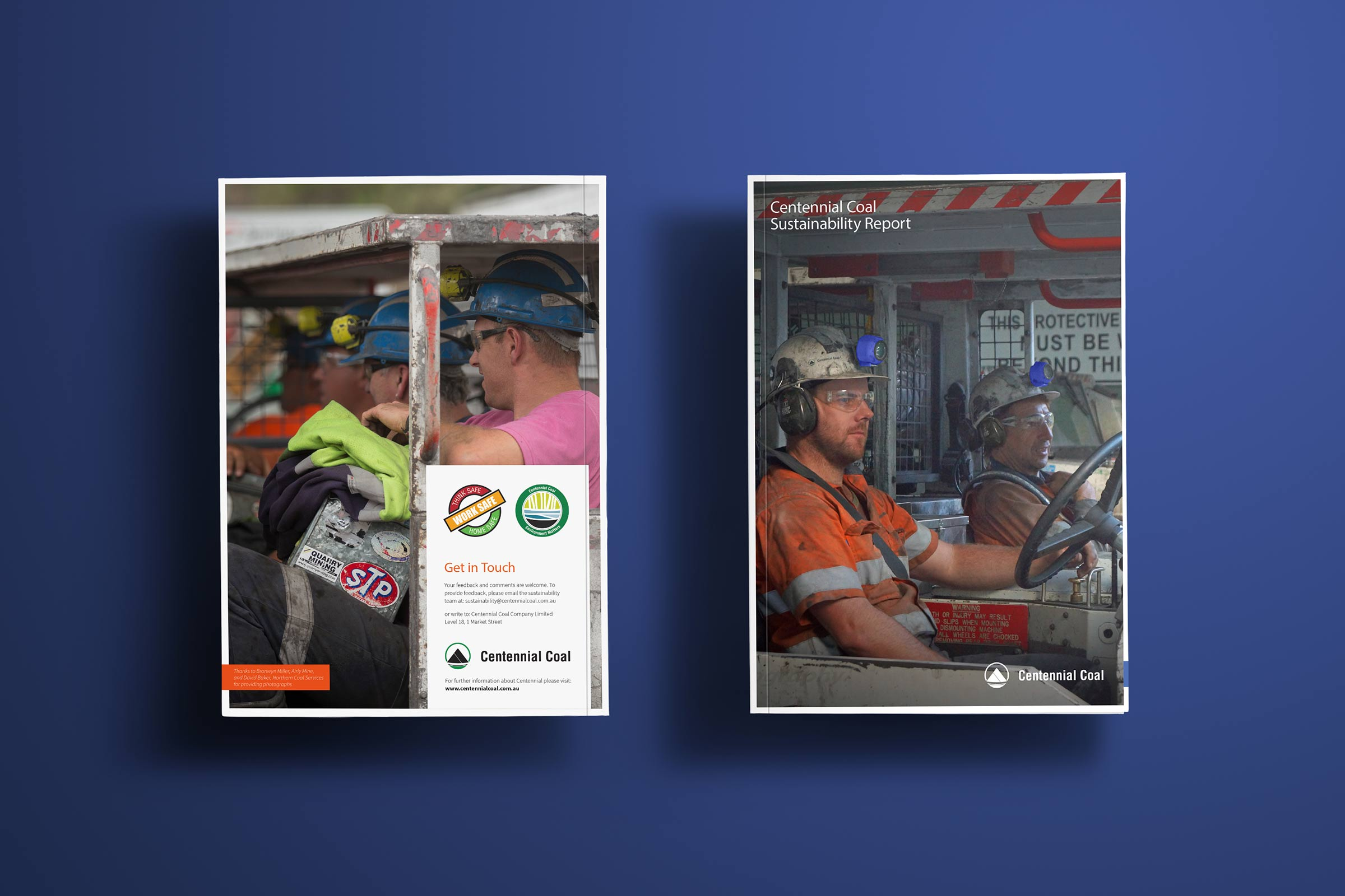 Annual report front and back cover for Centennial Coal. Featuring photographs of coal miners at work.