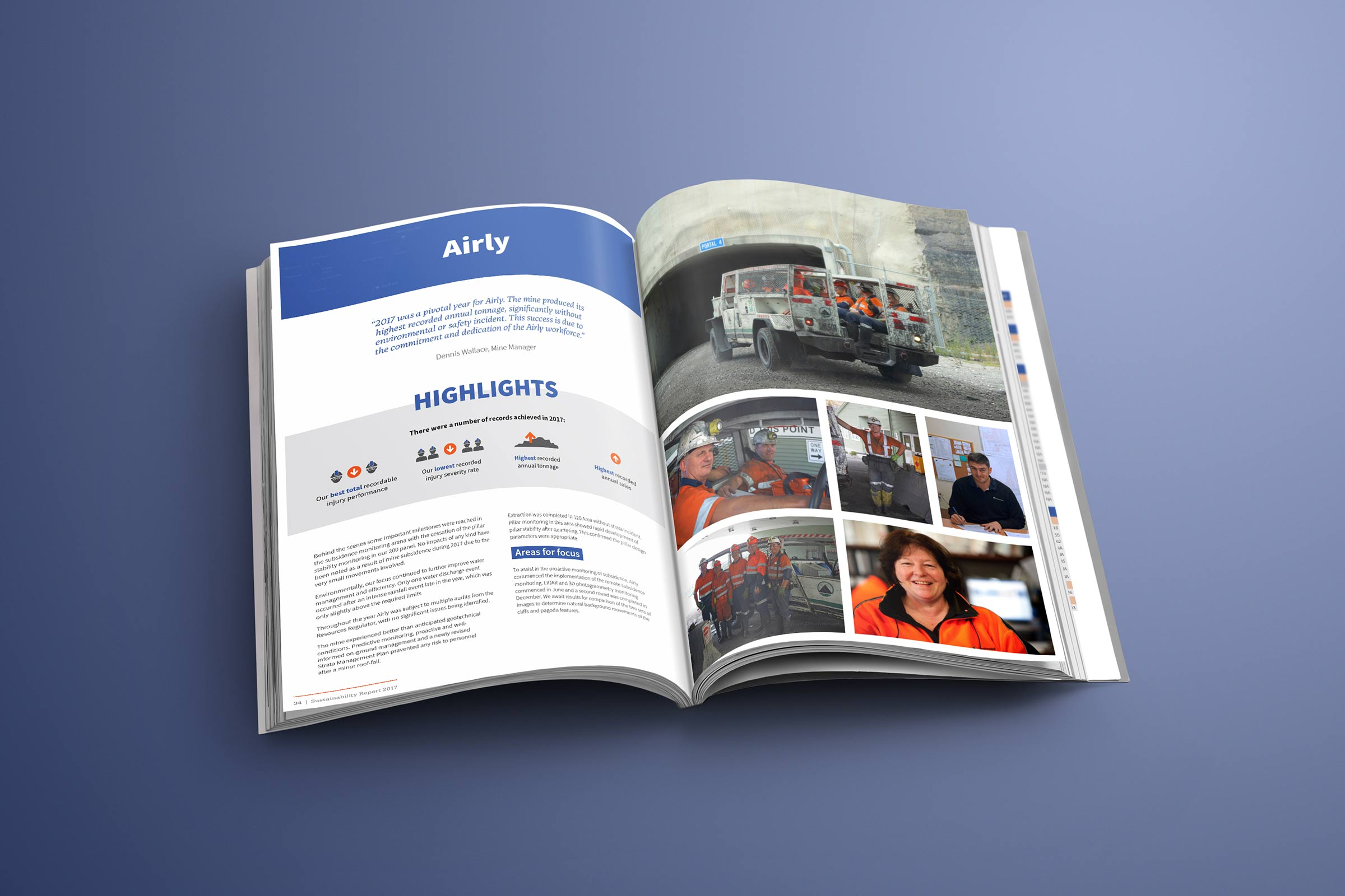 Inner pages of Centennial Coal Annual Report. Featuring Airly mine and a simple design including images, icons, graphics and text.