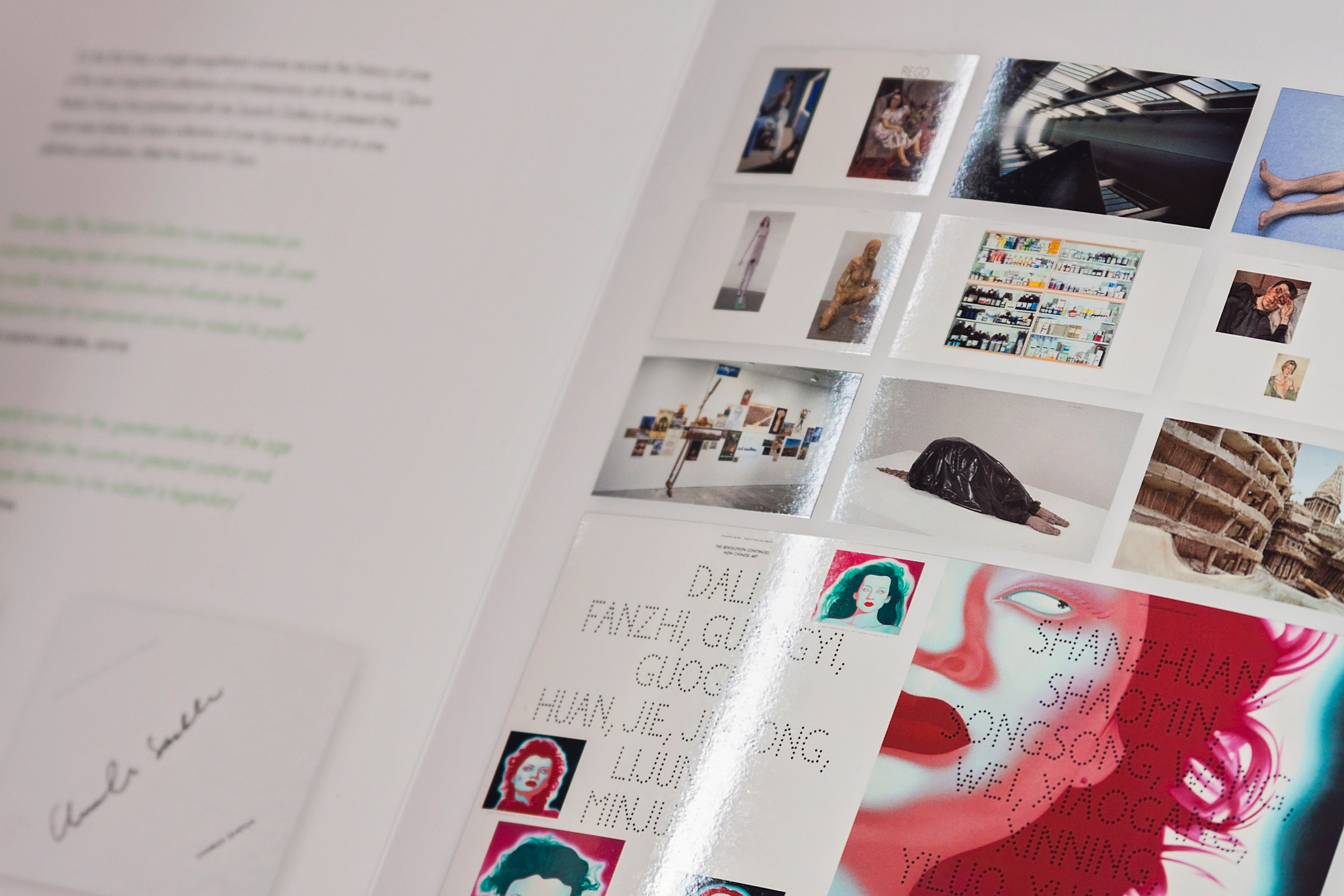 a spot uv gloss print technique used on a close up of a brochure for The Saatchi Gallery