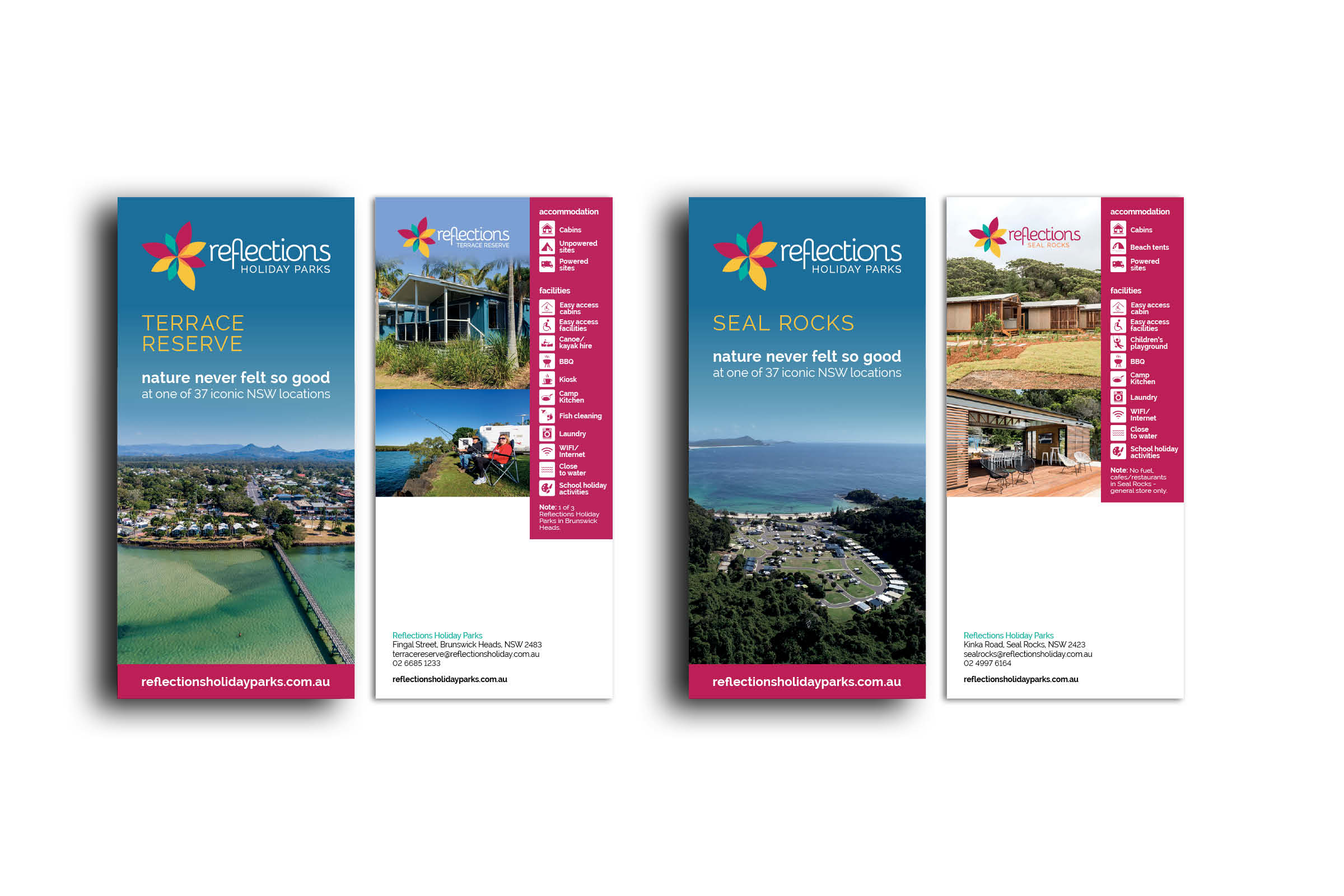 Two of 37 DL flyers designed for Reflections Holiday Parks. Using beautiful aerial shots of the parks