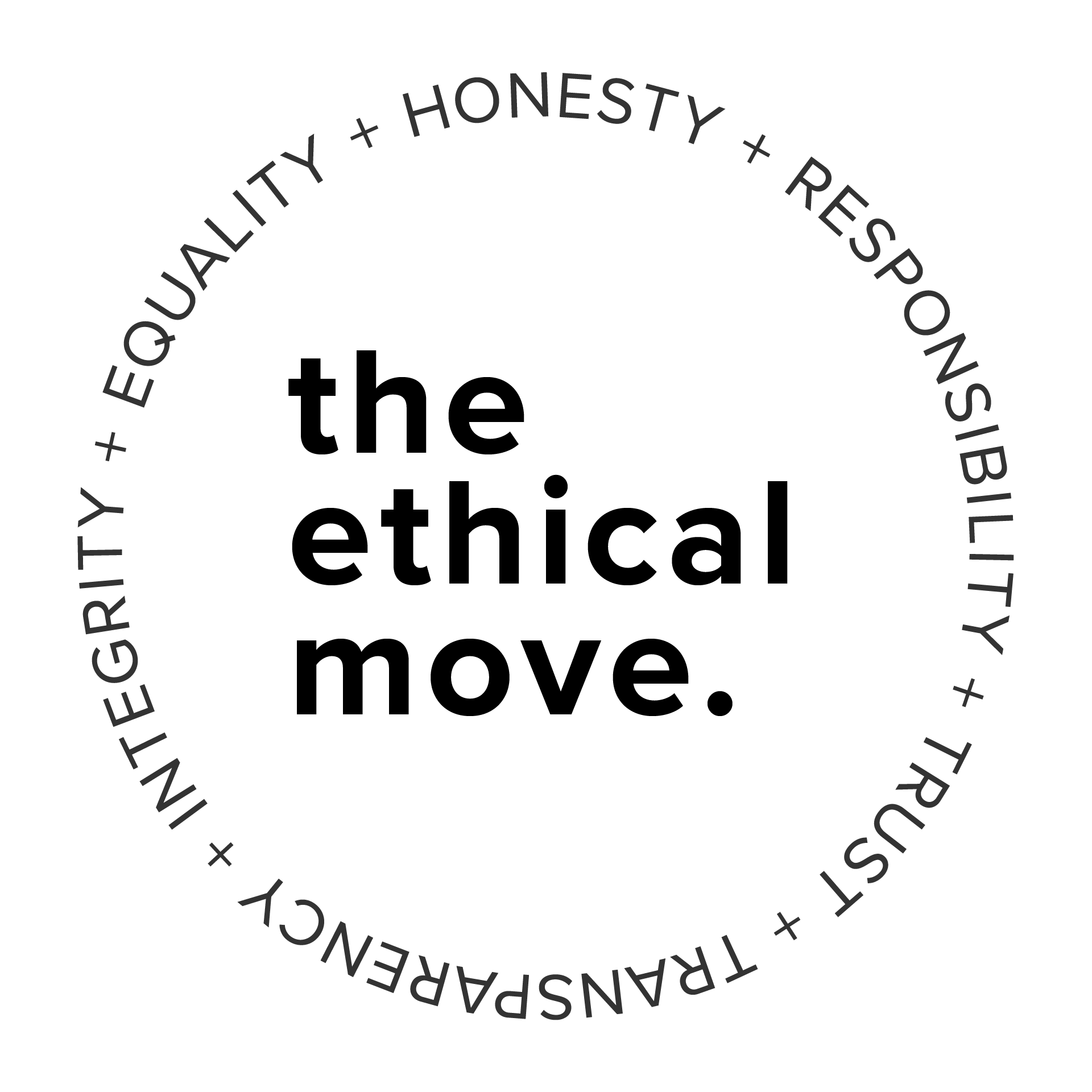 the ethical move logo, black writing in a ring reads equality + honesty + responsibility + trust + transparency + integrity
