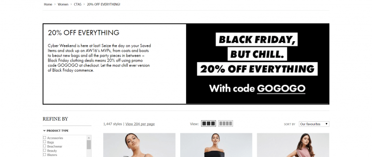 ASOS Creative Black Friday Campaign