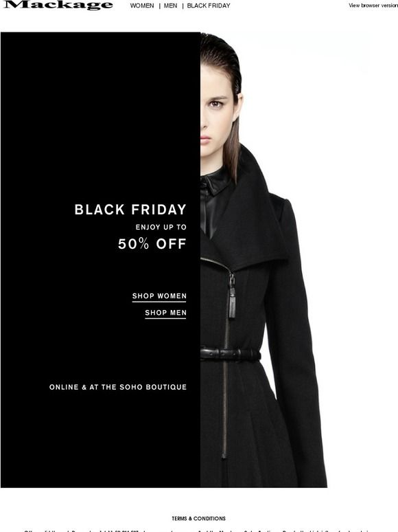 Mackage Black Friday Campaign