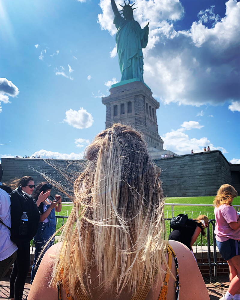 Gemma at the statue of liberty
