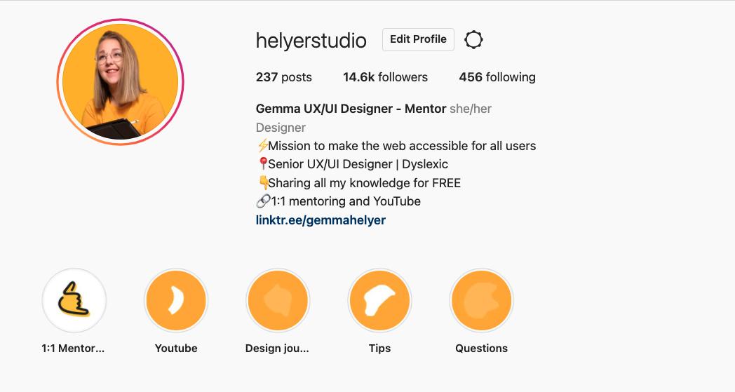 Screenshot of Helyer Studio Instagram account