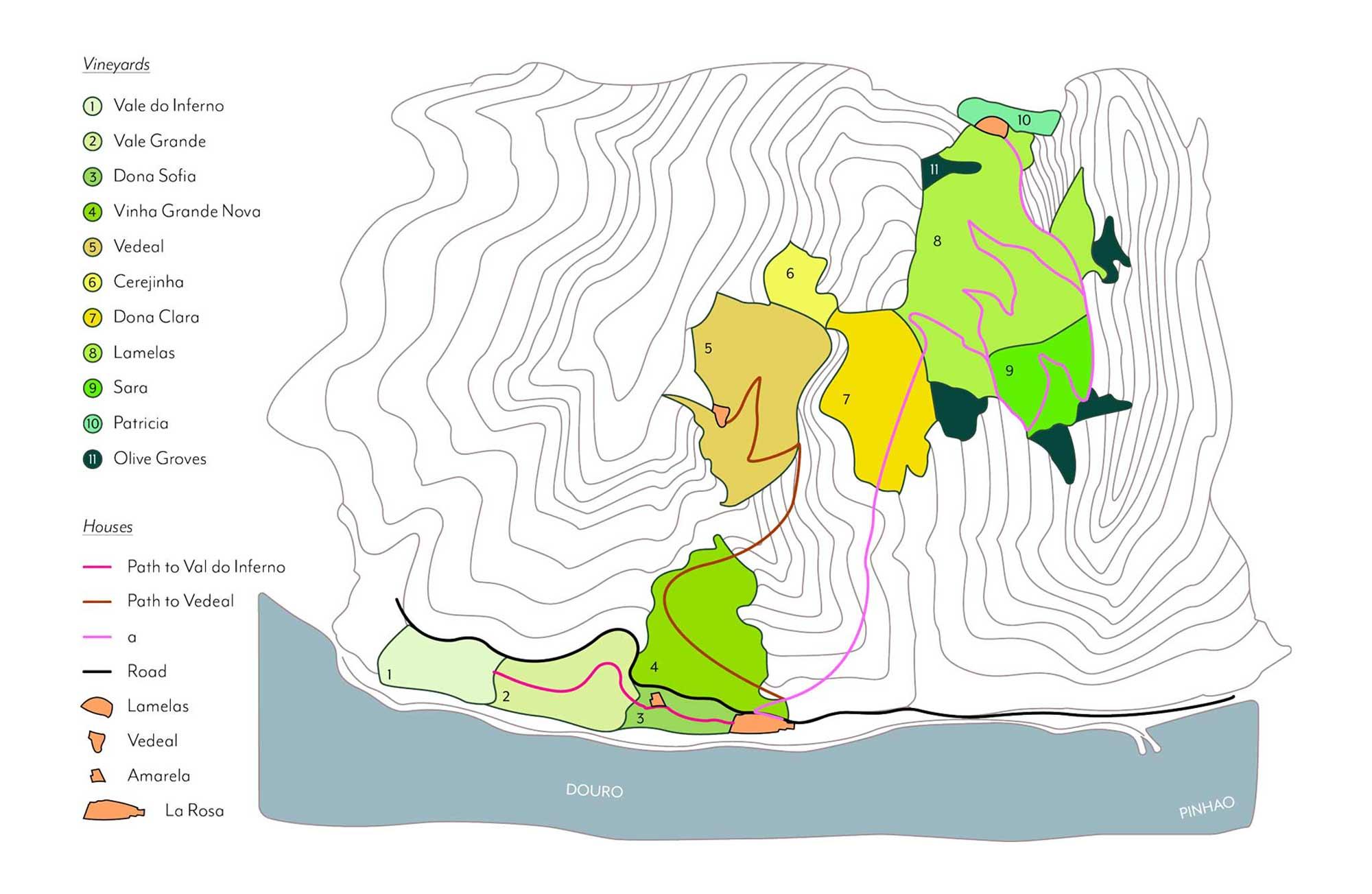 Map of Quinta de la Rosa - bird eye's view