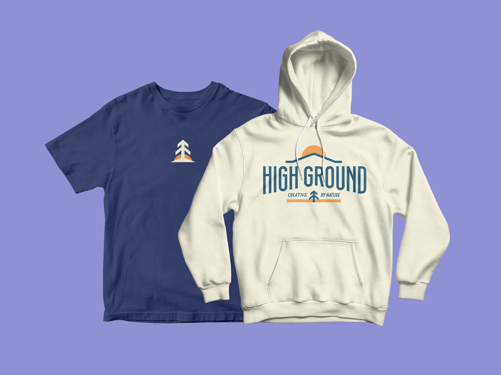 shirt and hoodie merchandise for High Ground Brand Identity Design Project