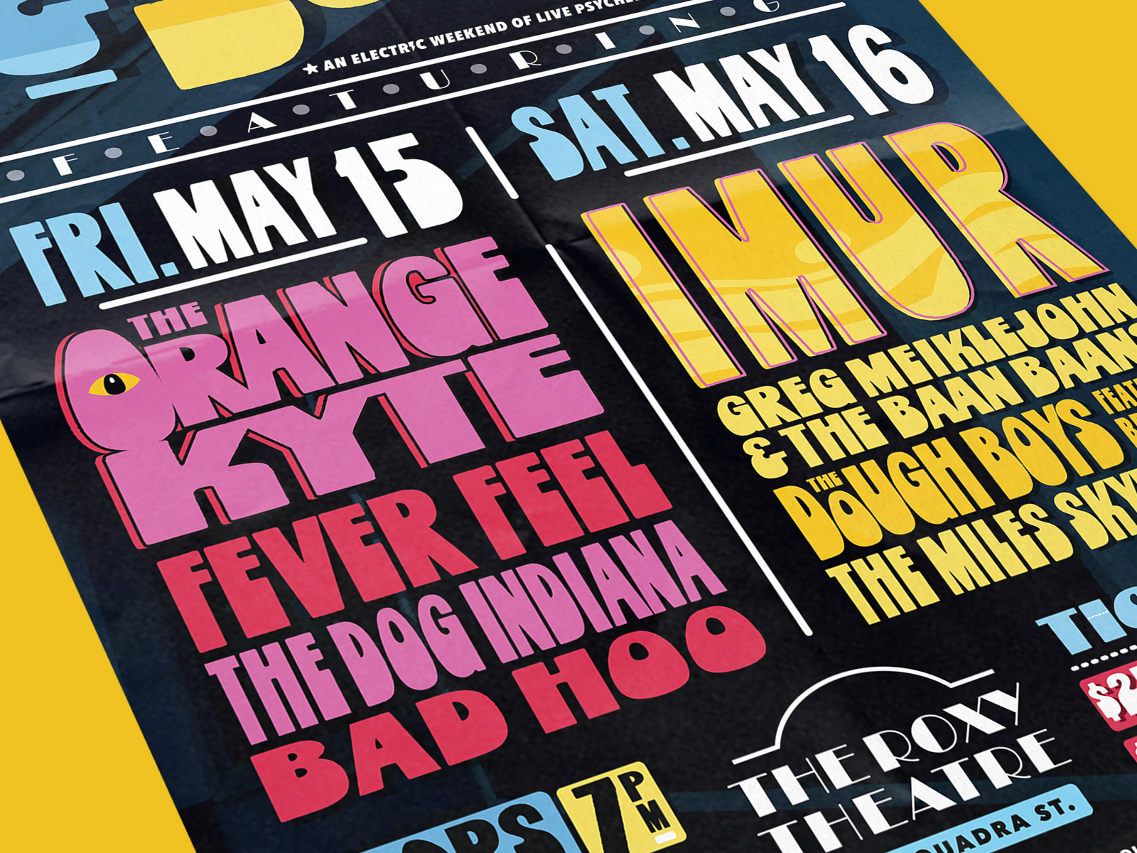 close up of poster design for psych and soul music festival