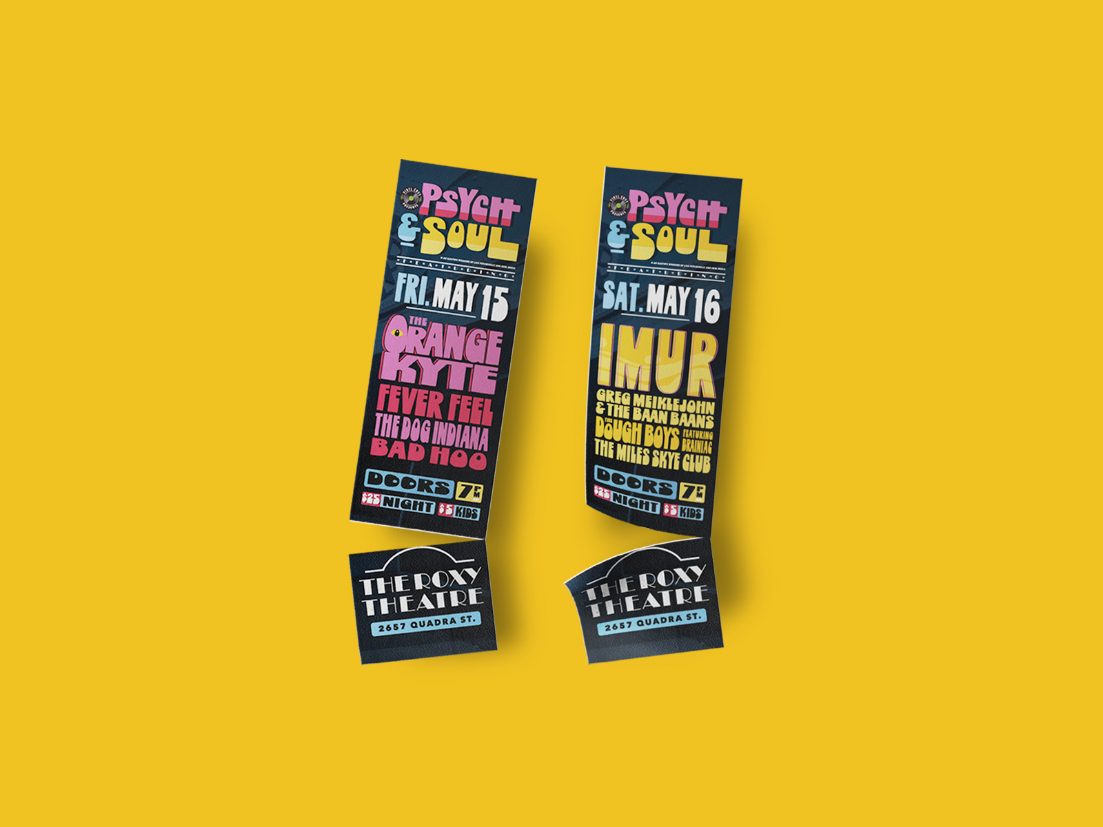 ticket design for for psych and soul music festival