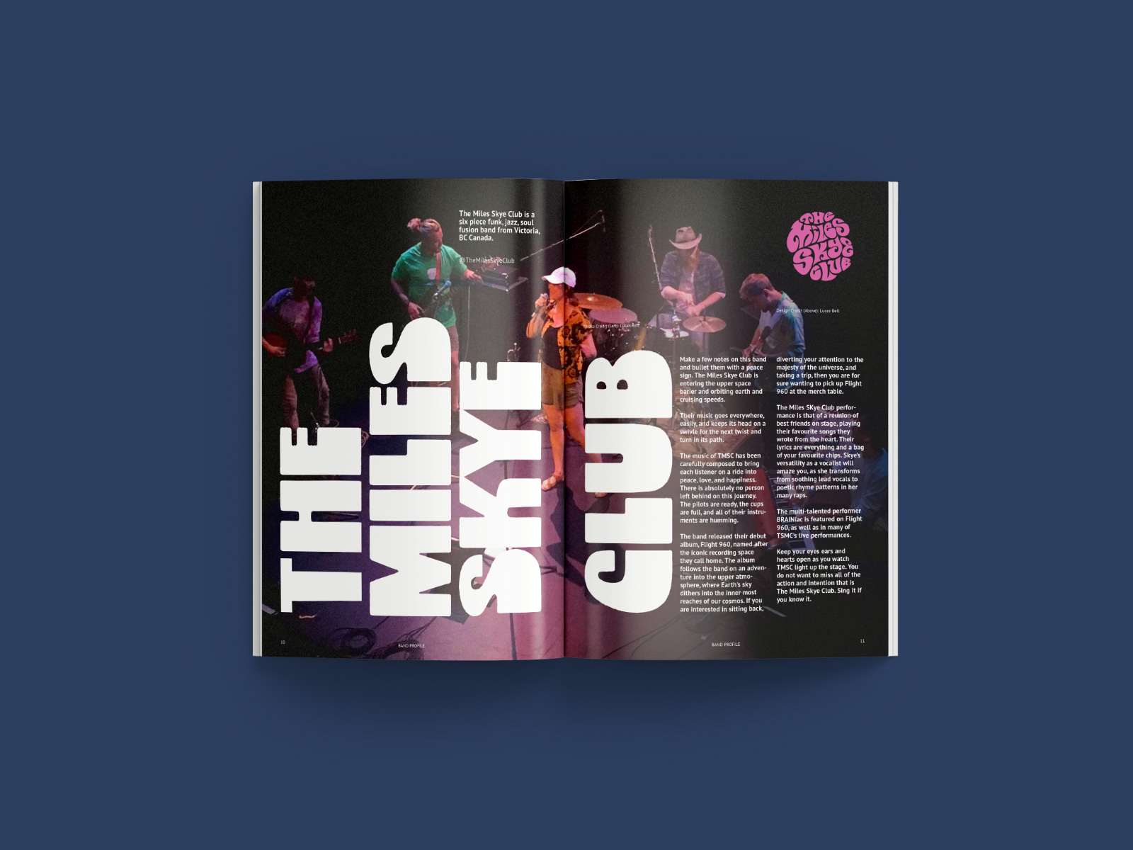 band bio page design for psych and soul music festival