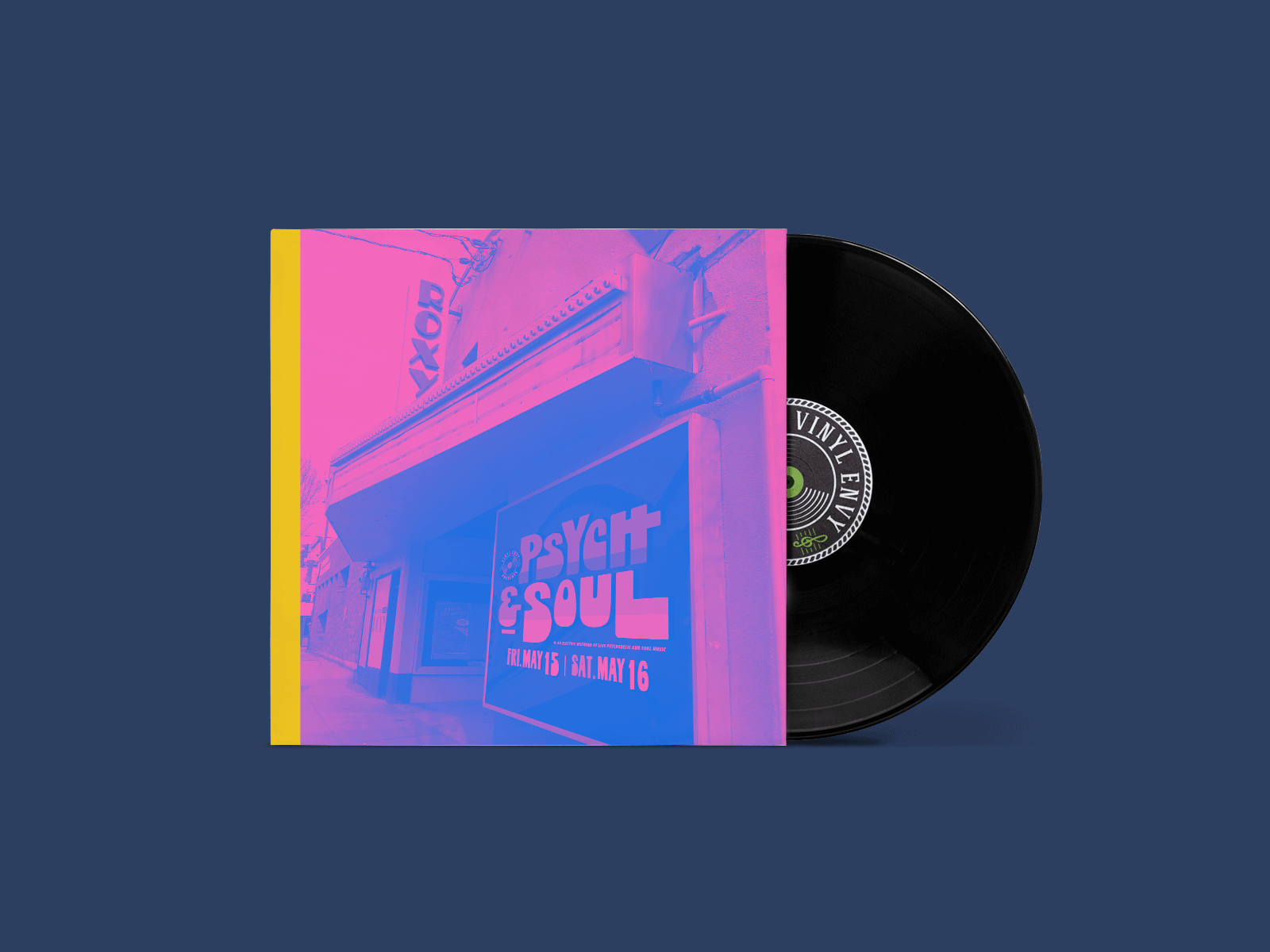 vinyl record design for psych and soul music festival