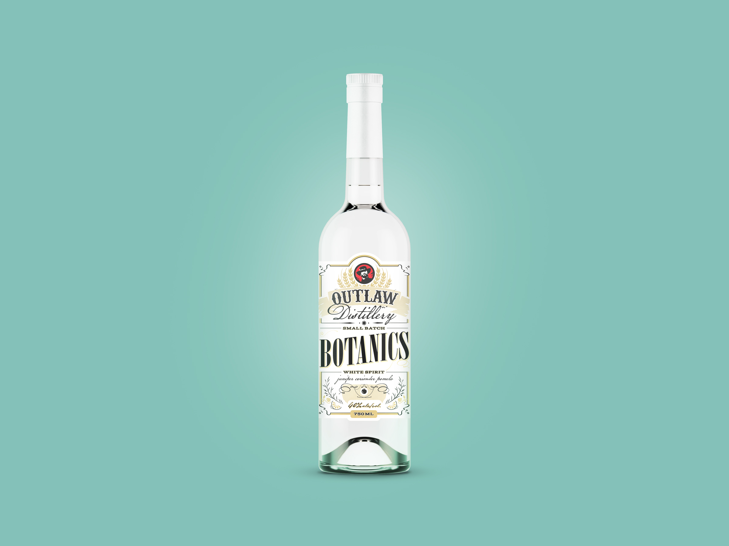 botanics gin label design for outlaw brewing