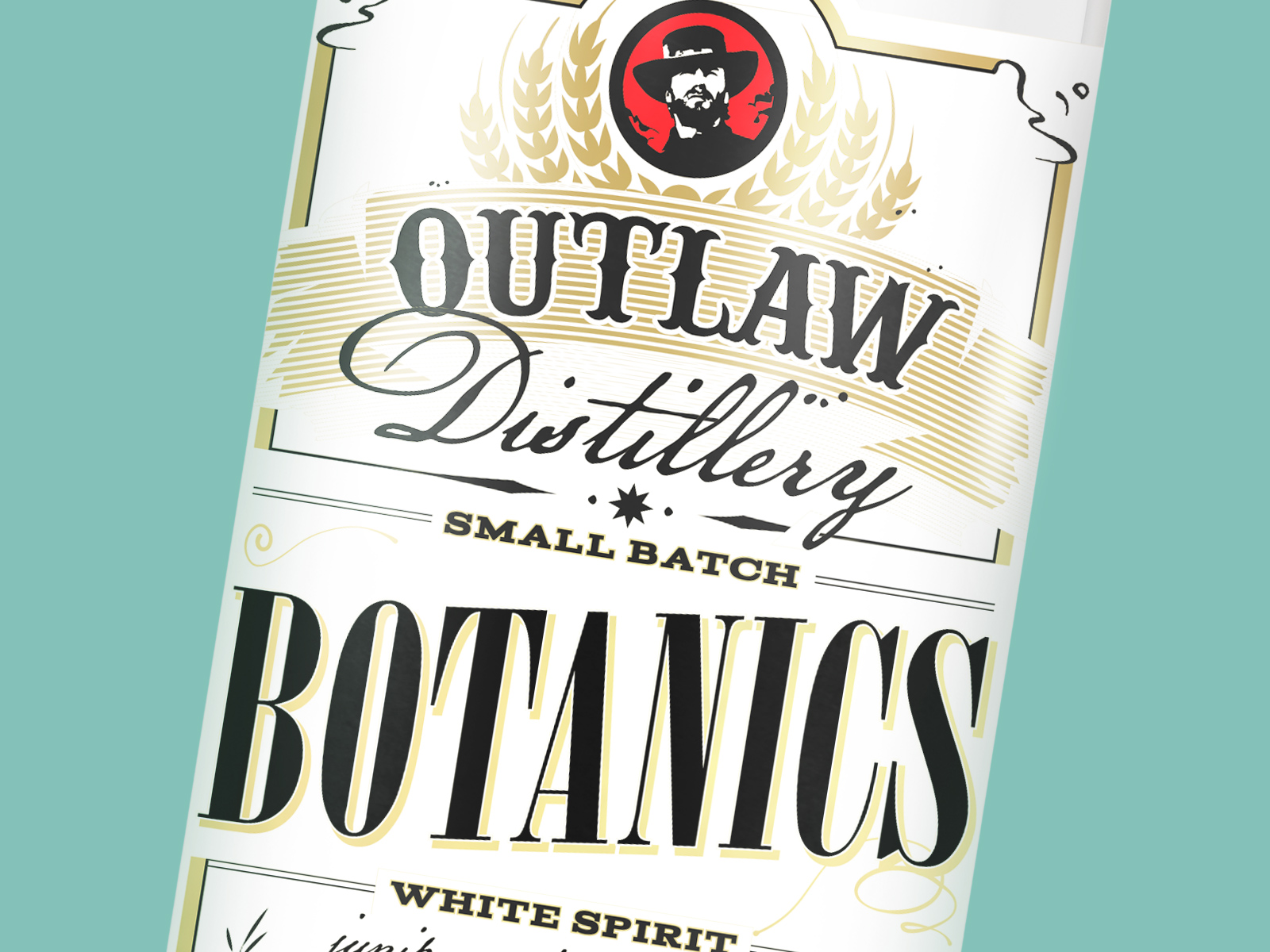 close up of gin label designed for outlaw brewing