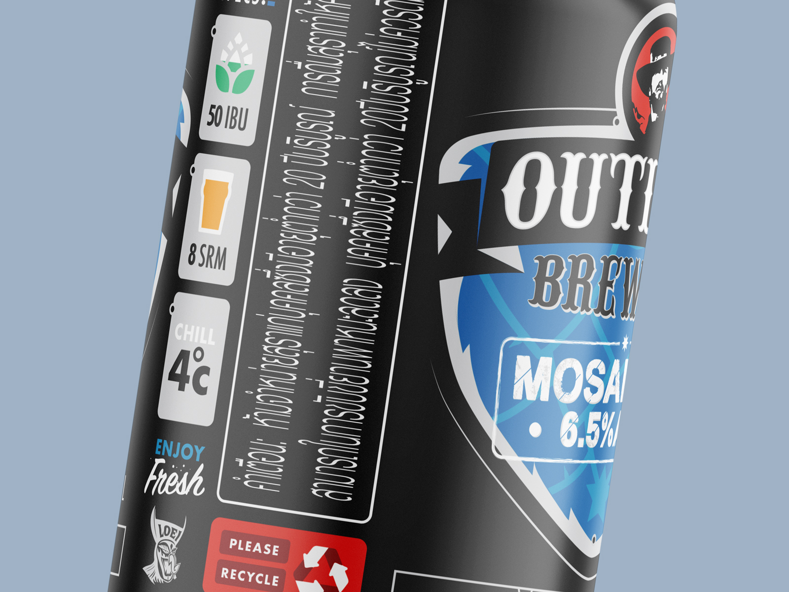 close up of beer can label design for outlaw brewing