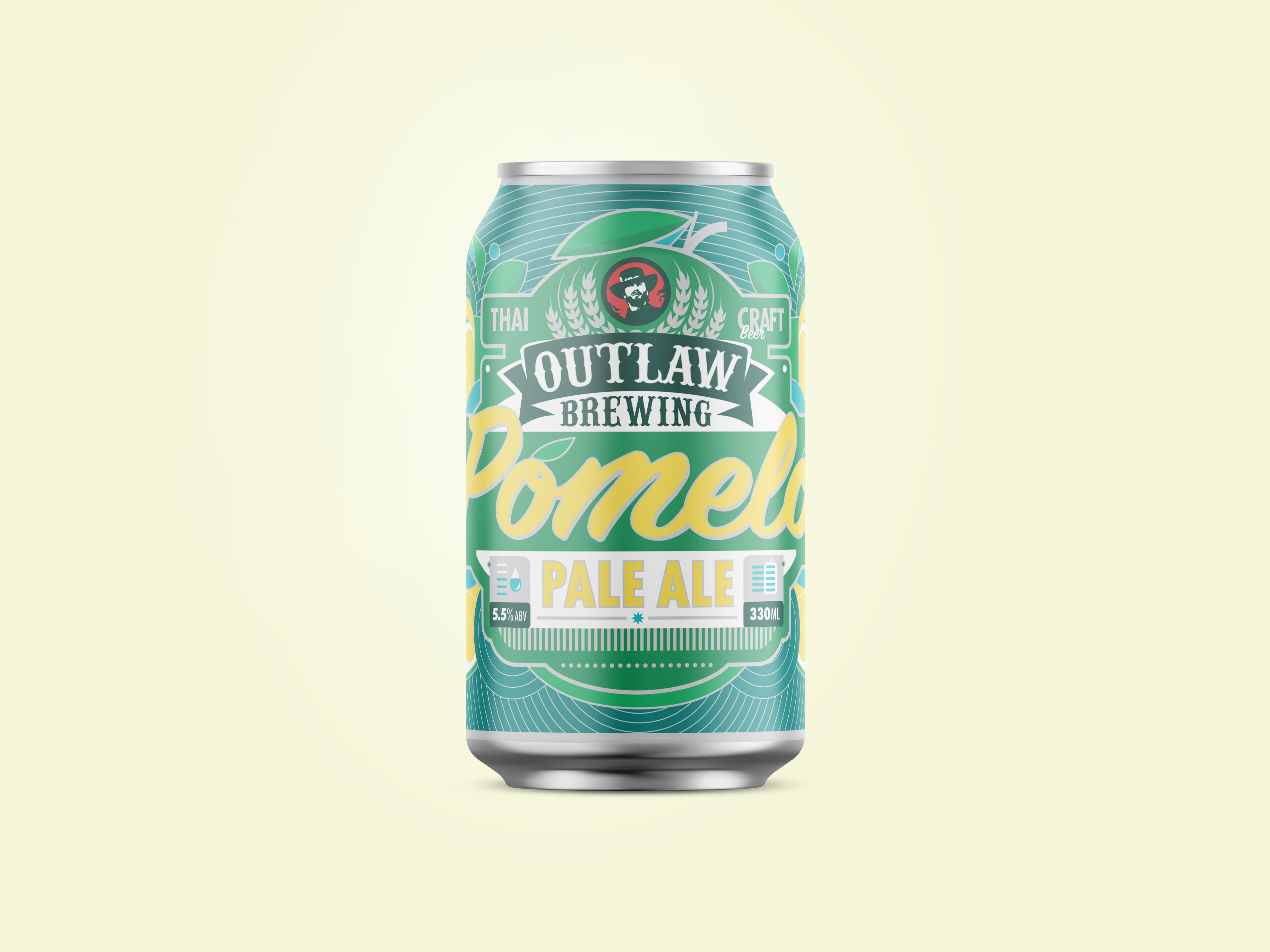 beer can label design pomelo pale ale for outlaw brewing
