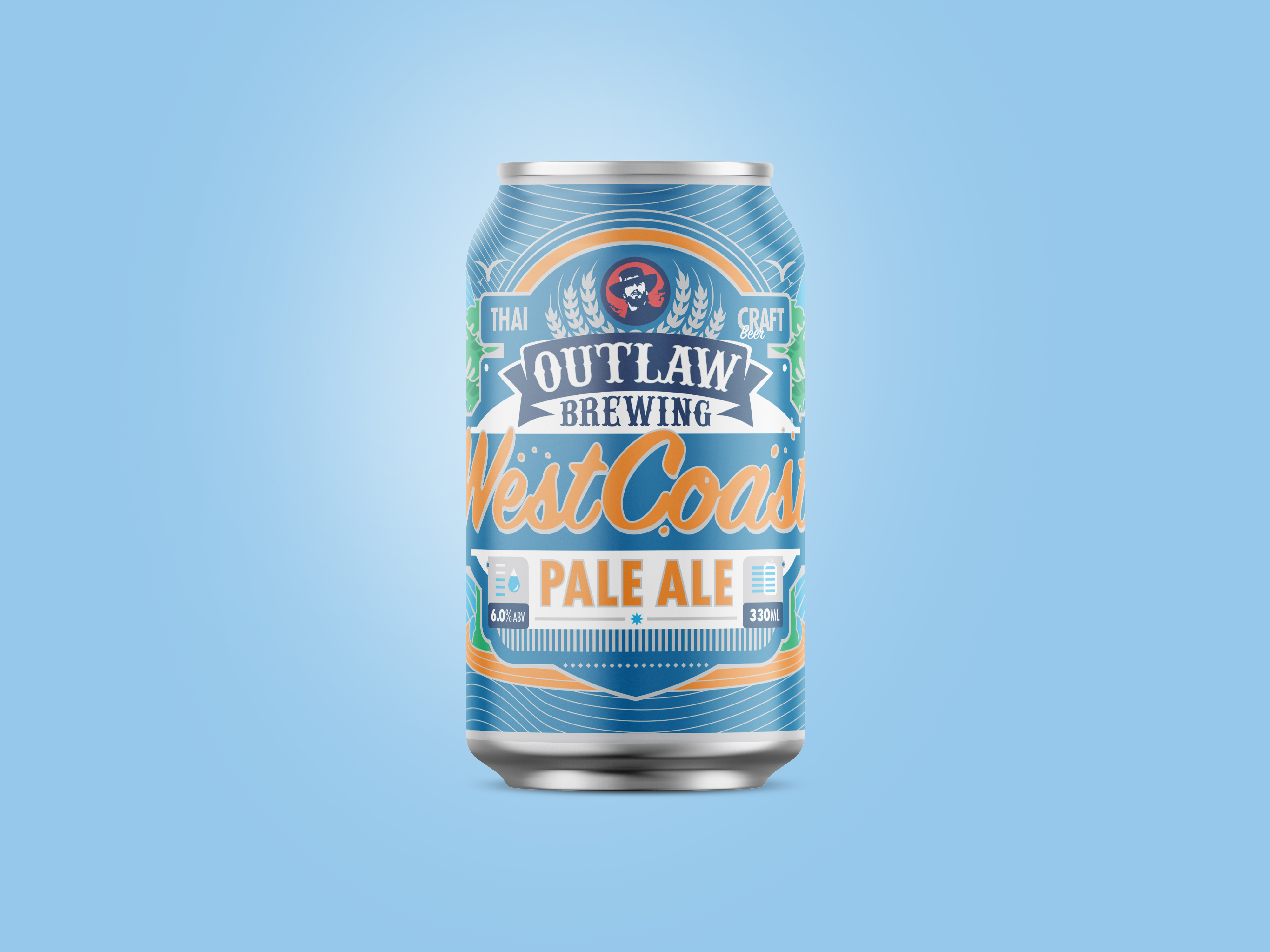 west coast pale ale beer can design for outlaw brewing