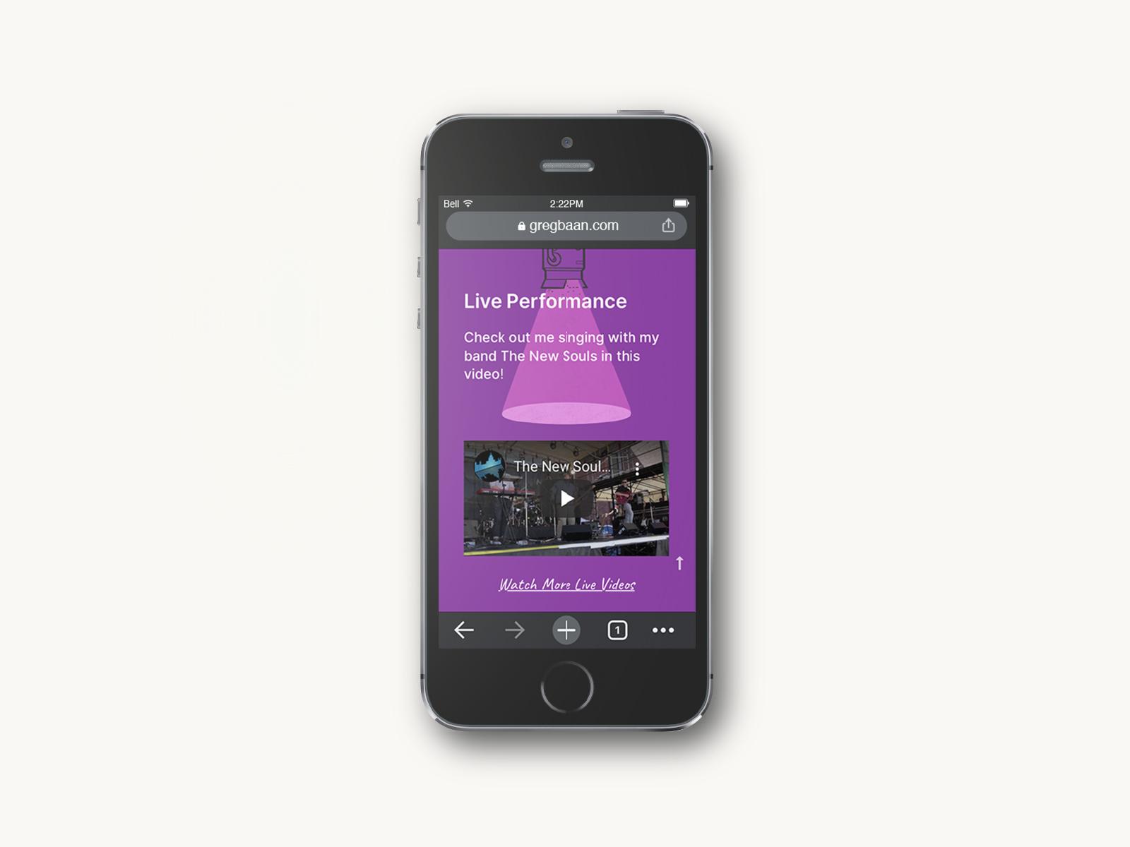 iphone five website design for greg baan .com