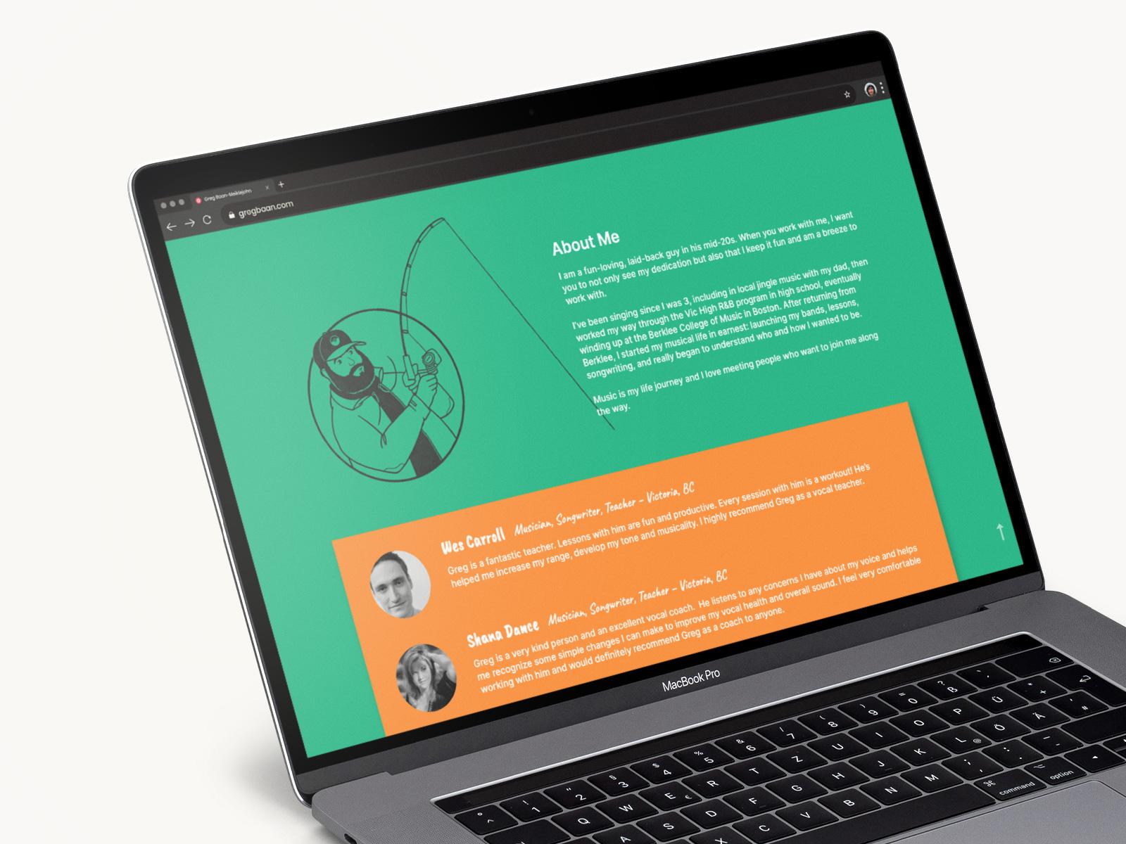 website design on macbook pro for greg baan .com