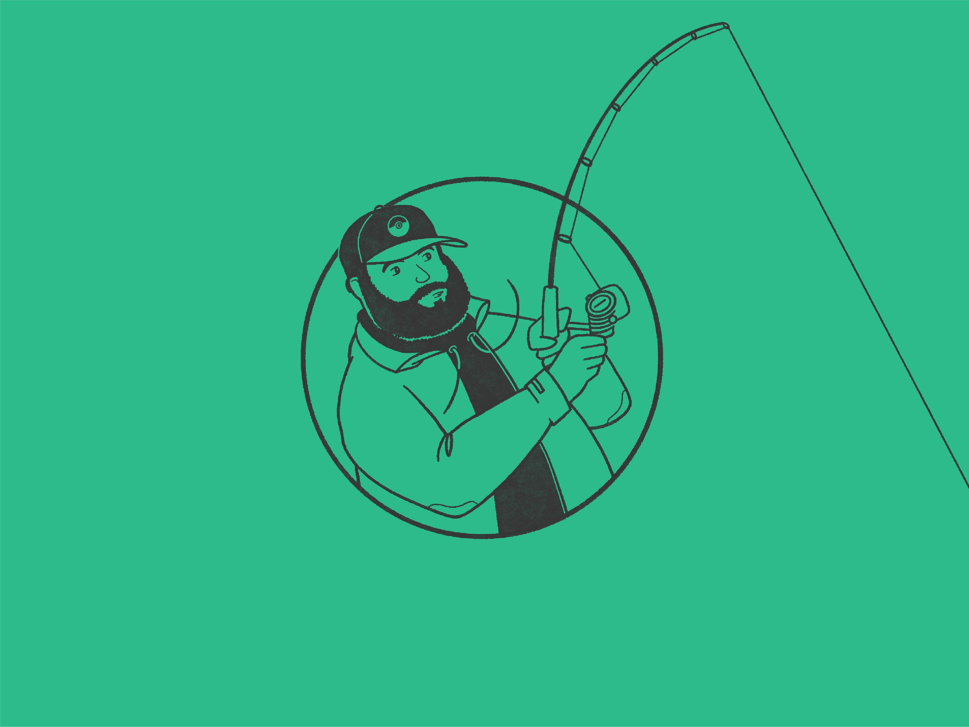 illustration of greg fishing for greg baan .com