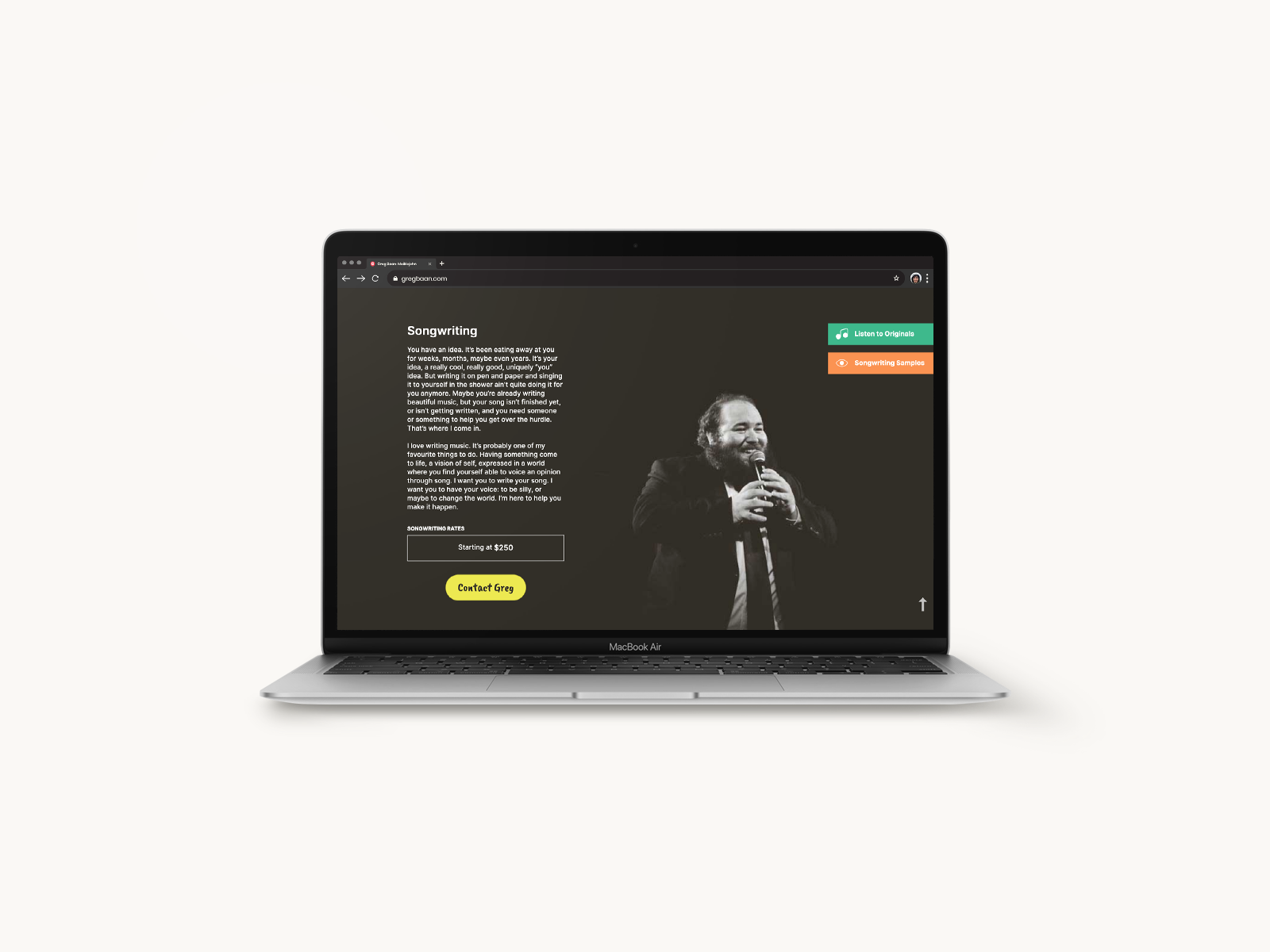 website design on small laptop for greg baan .com