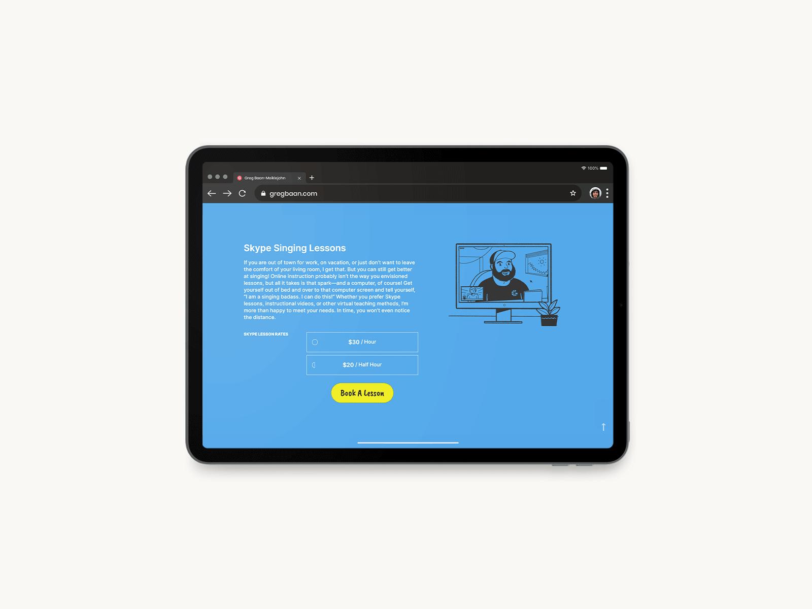 website design on laptop for greg baan .com