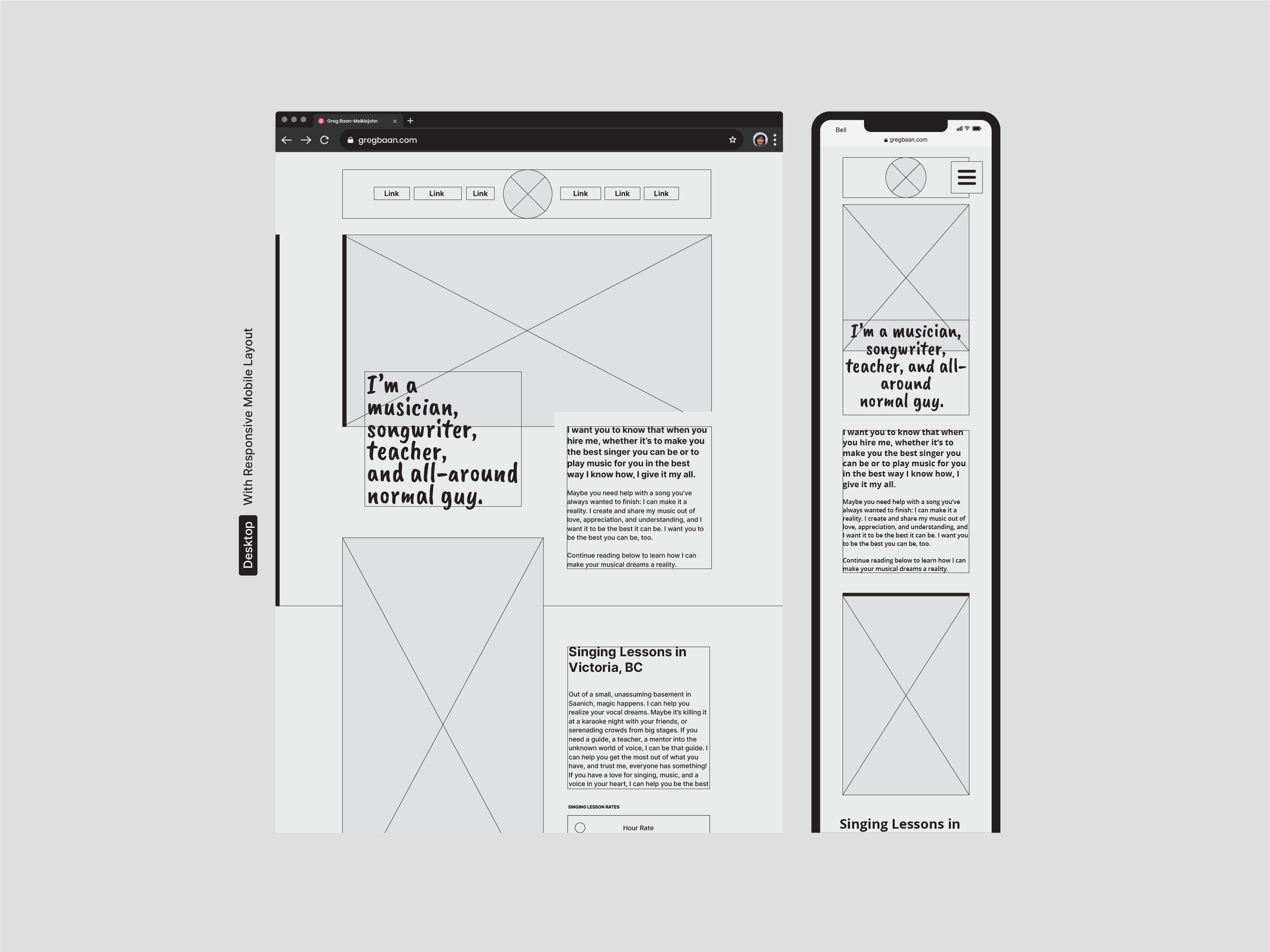 Responsive Website Wireframe Design Designed by Lucas Bell Graphic Designer in Victoria BC Canada