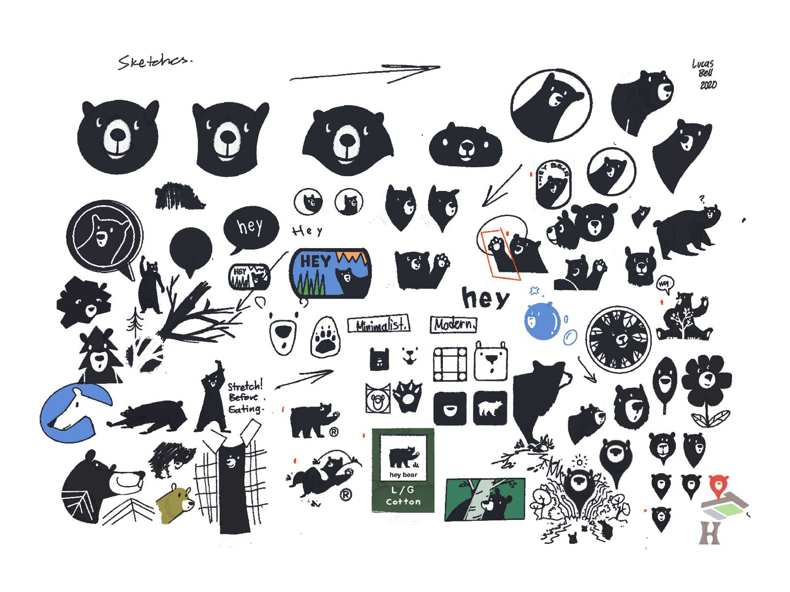 logo sketching for hey bear logo design project