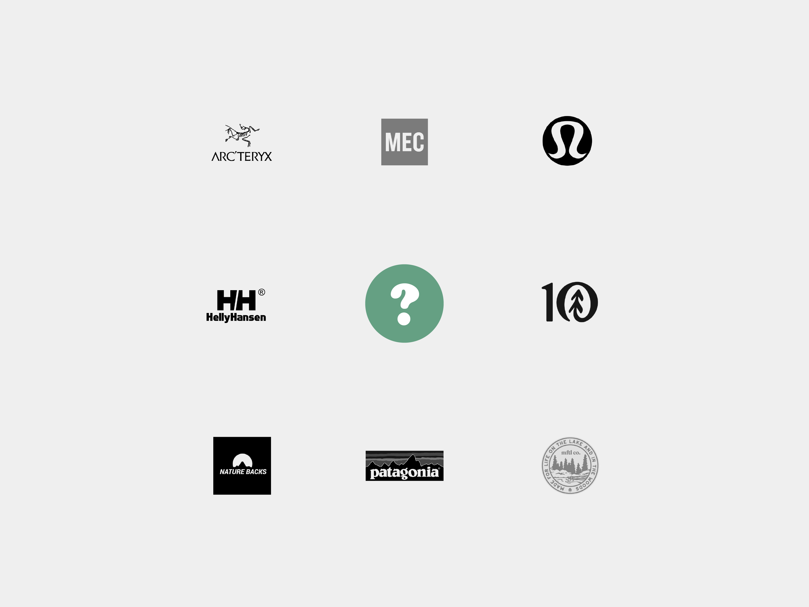 photo of competing outdoors company logos