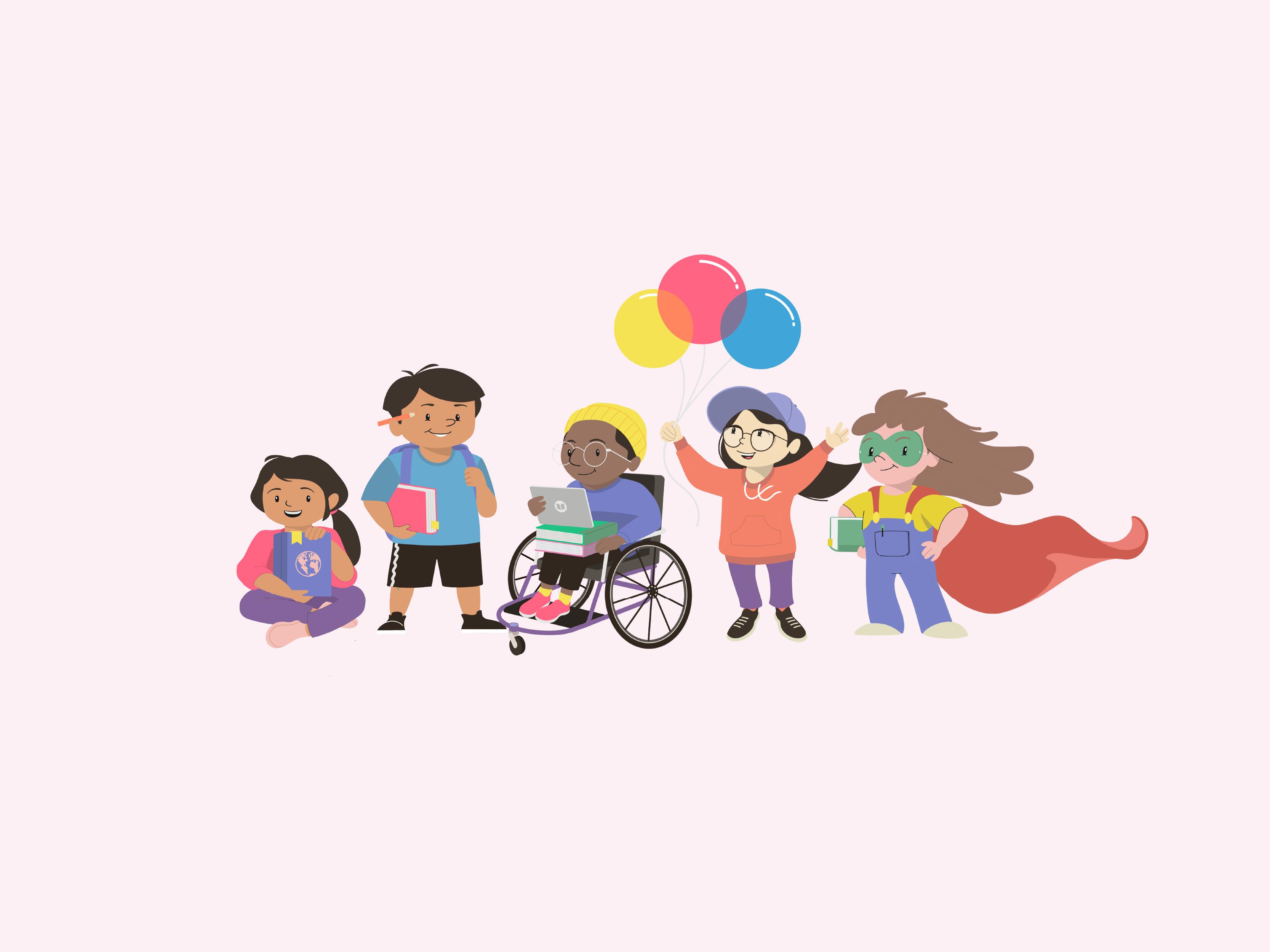 character illustrations for joyful literacy brand identity design