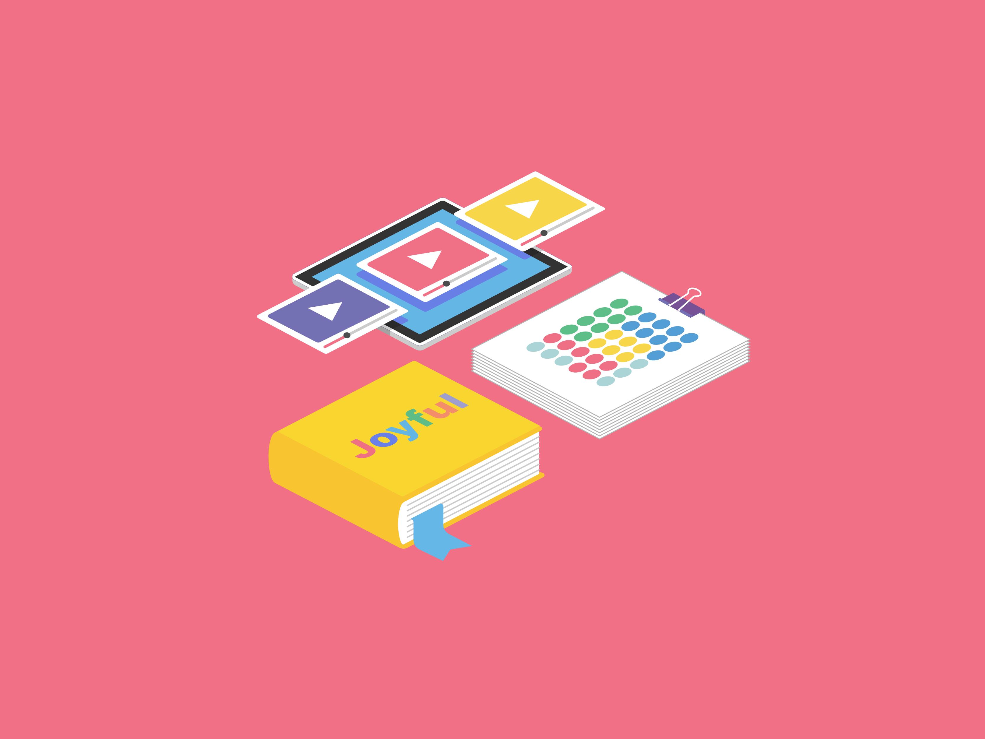video bundle illustration for joyful literacy brand identity design