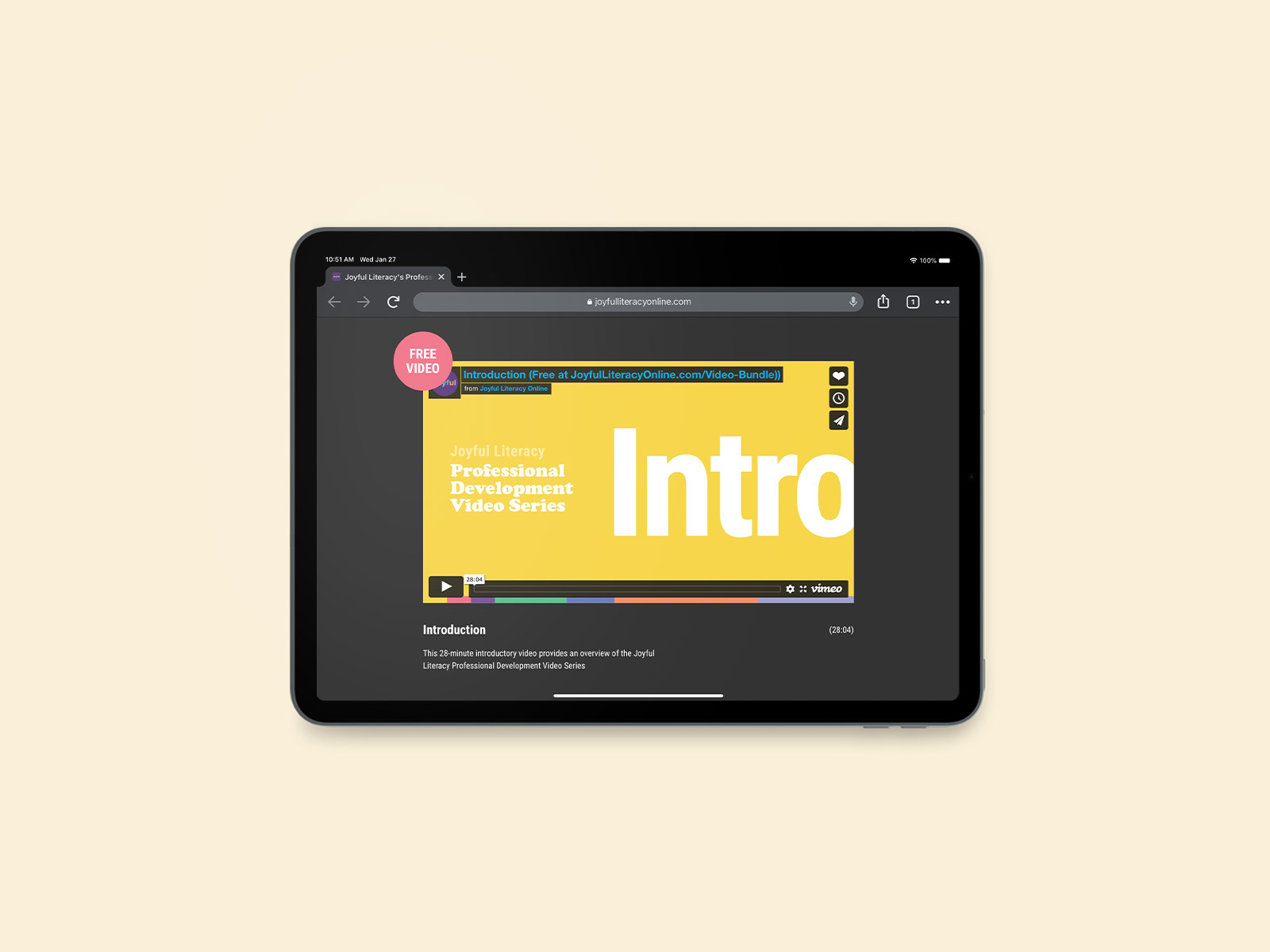 website design on ipad pro for joyful literacy brand identity design