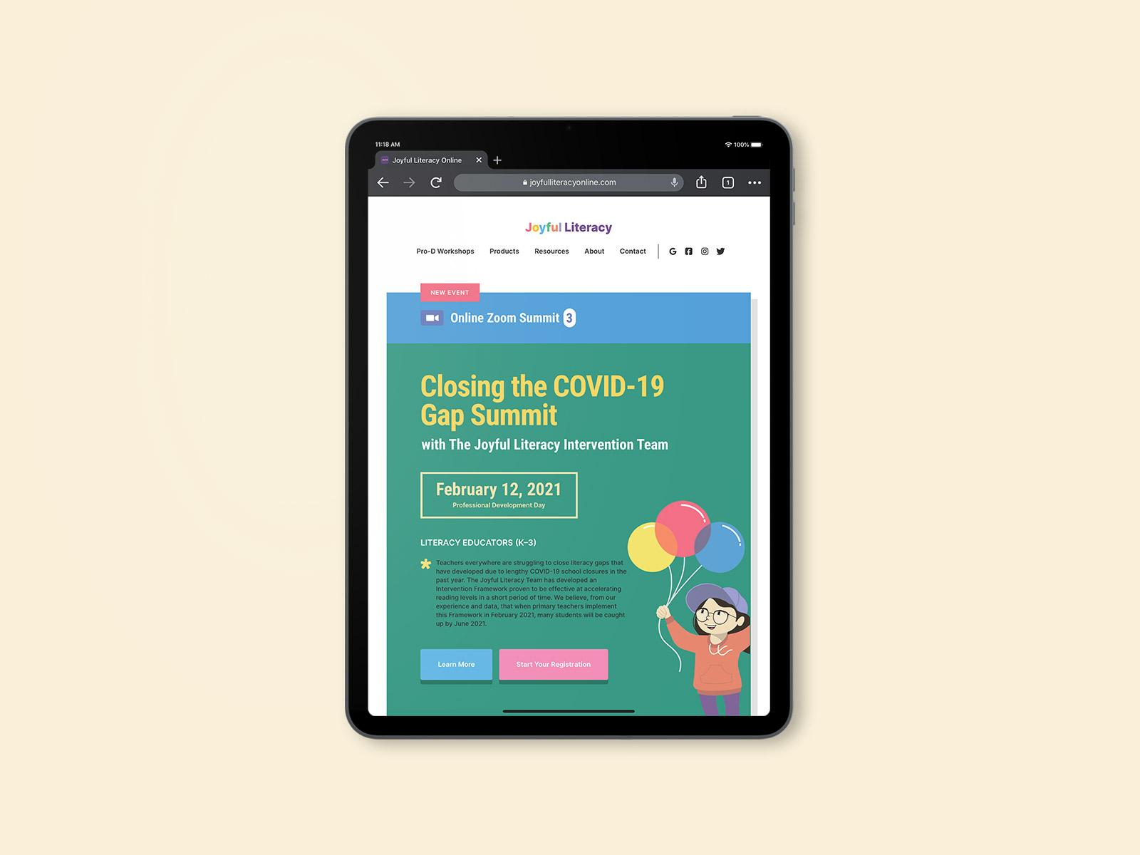 website design on ipad for joyful literacy brand identity design
