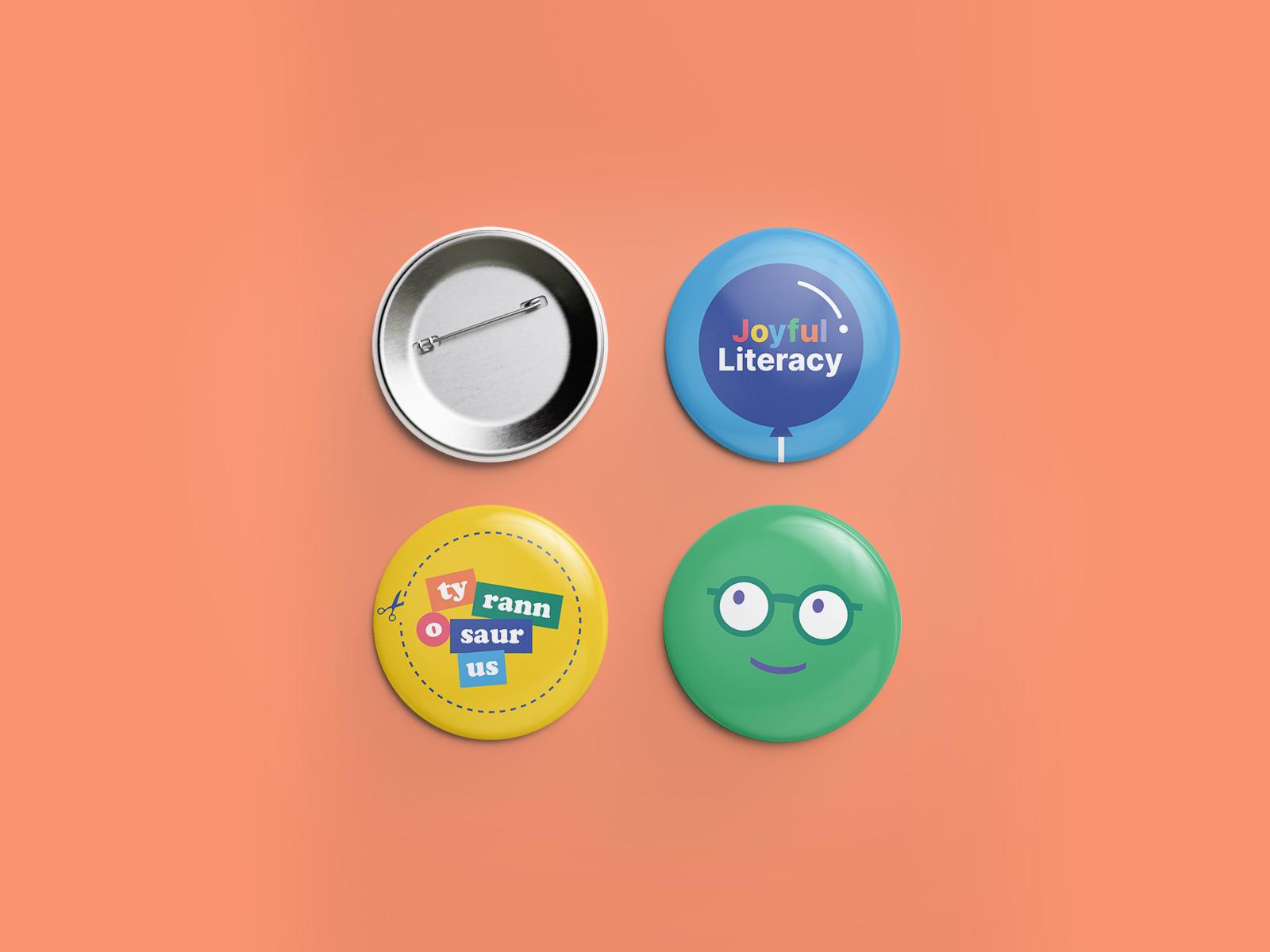 pin button design for joyful literacy brand identity design