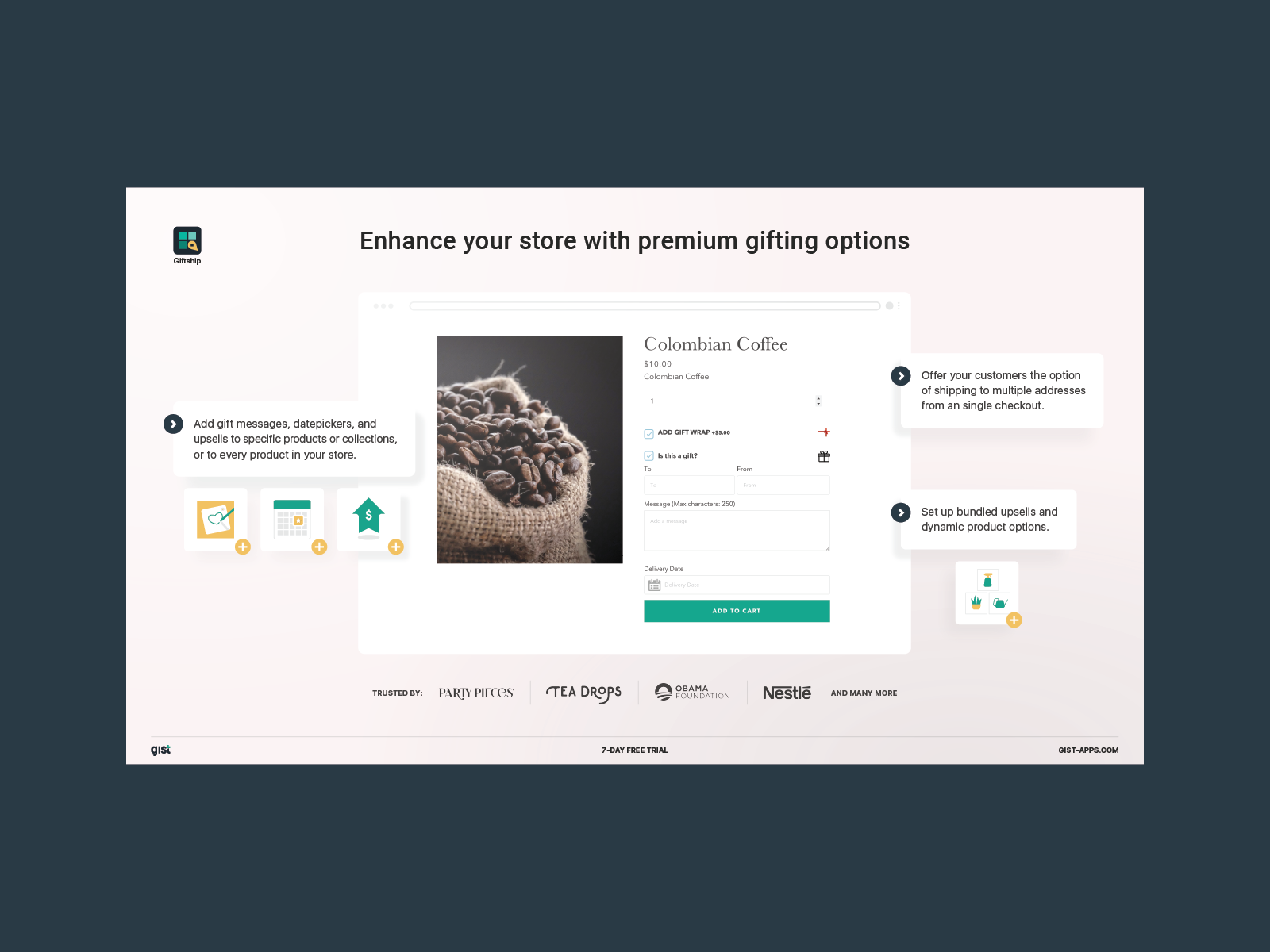 UI Design and Illustration for Gist Apps app Giftship on The Shopify App Store