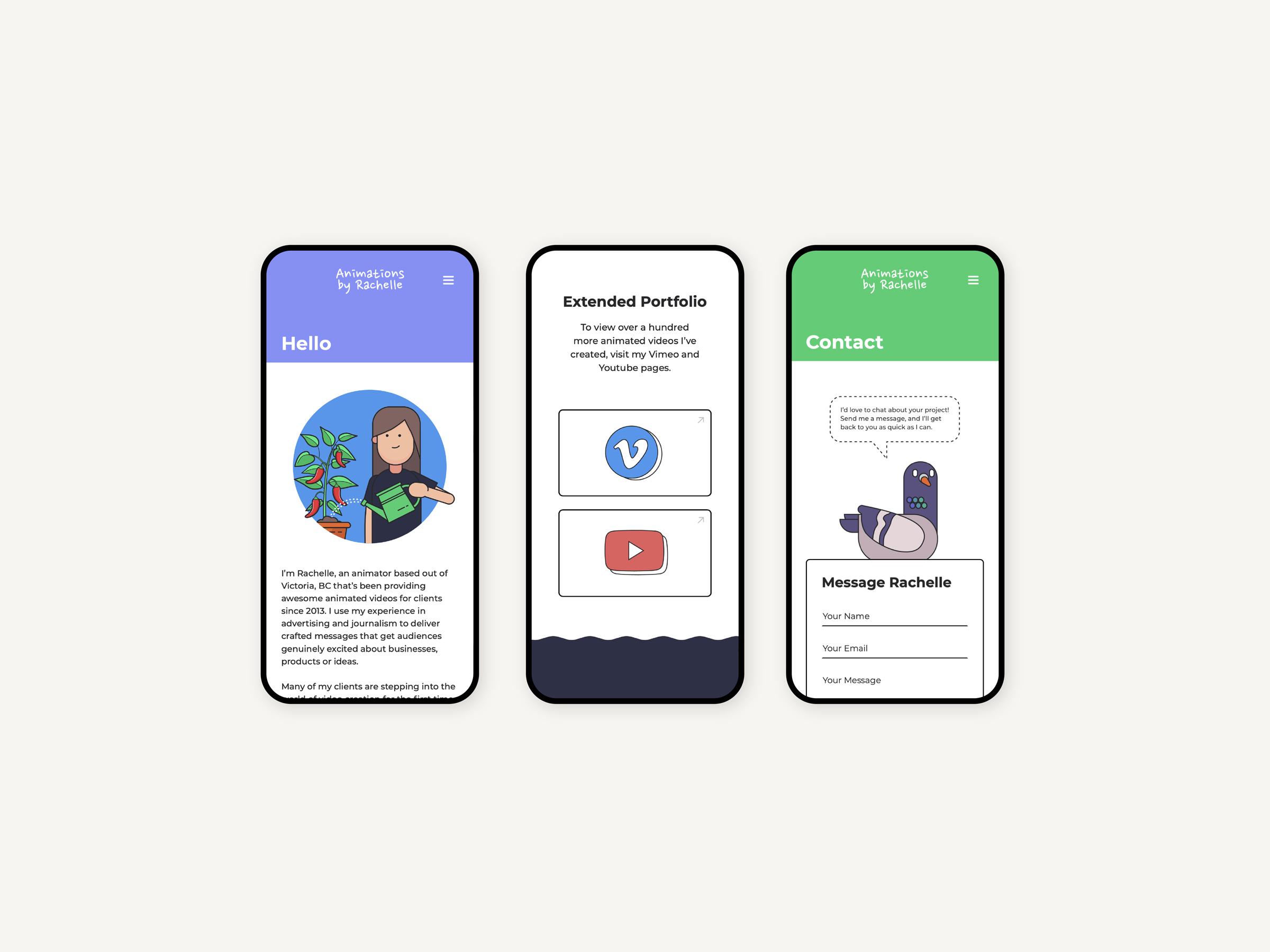 user interface design for mobile website rachellepurych.com