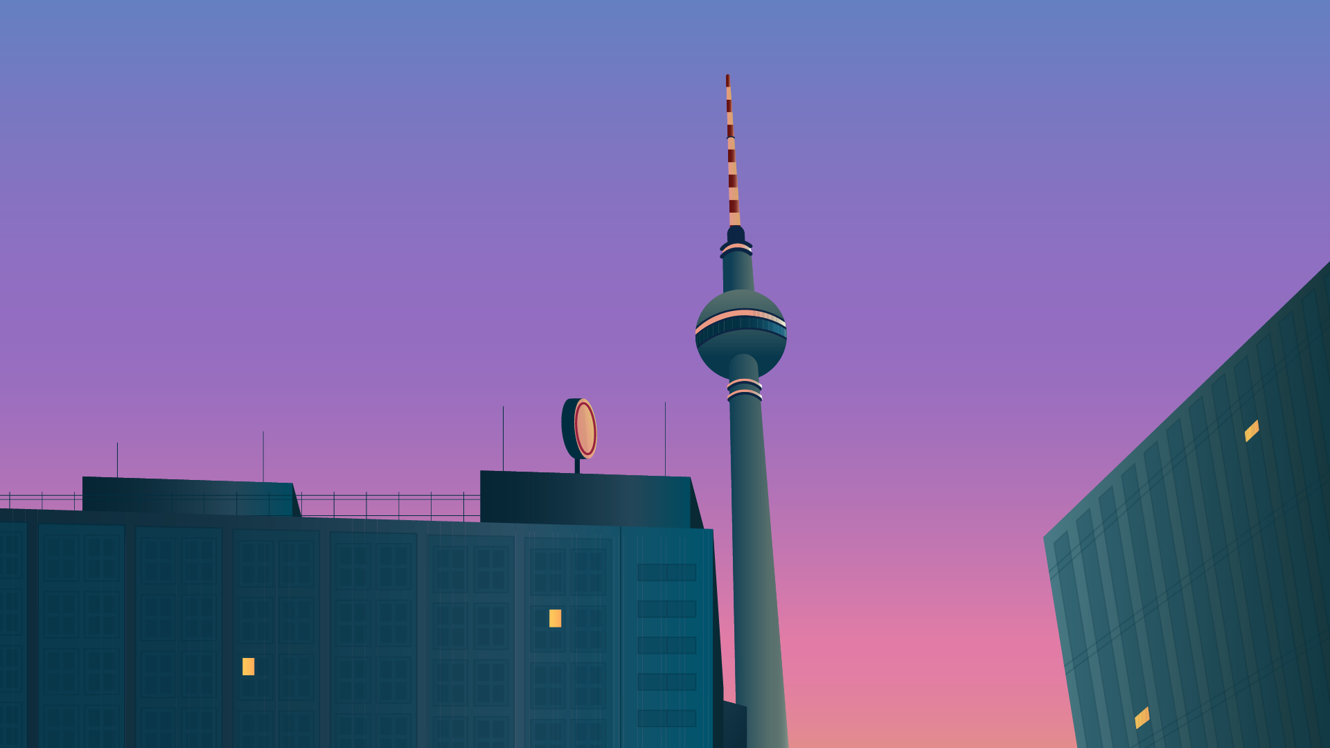 Berlin at Sunset Travelling Illustration