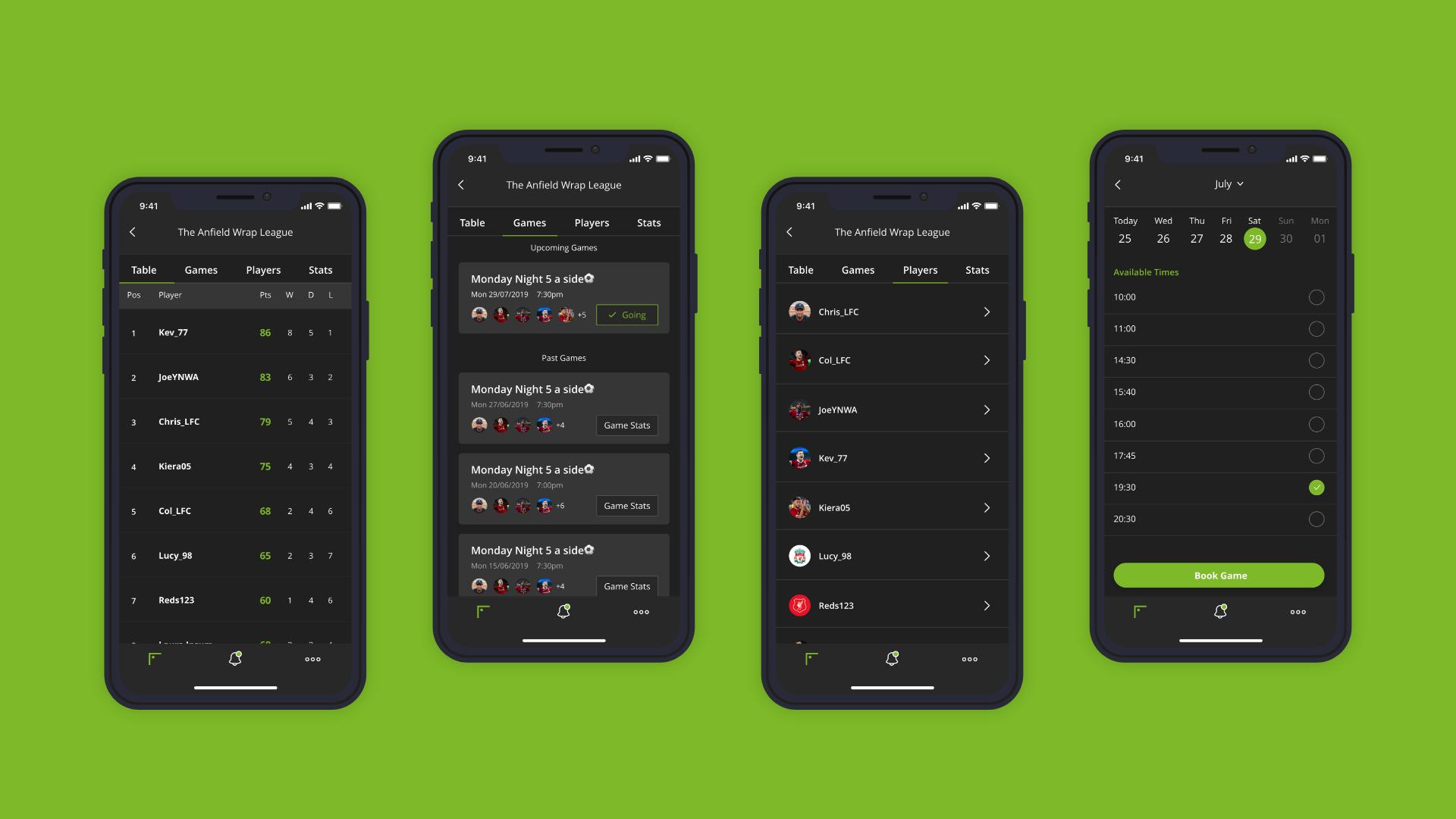 Social Football App UI Mobile Design