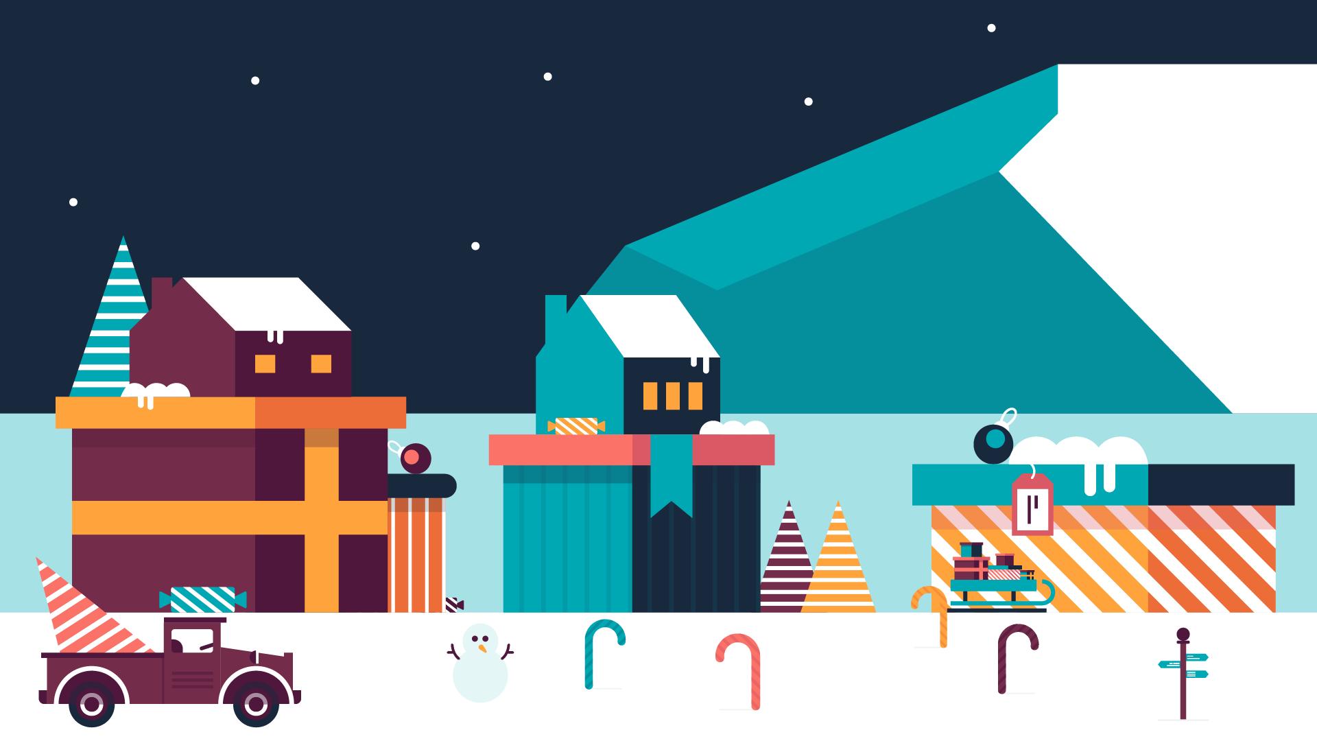 Christmas Snow Scenery Illustration