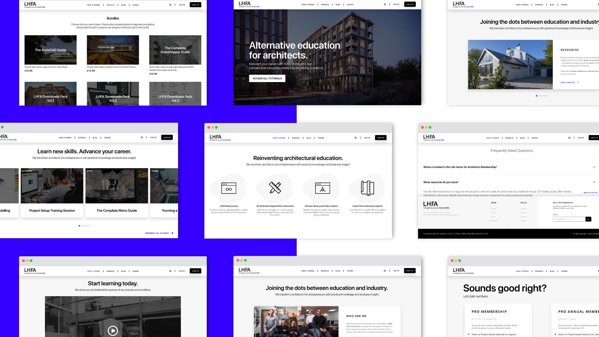 Architecture Student Tutorial Website UI Web Design