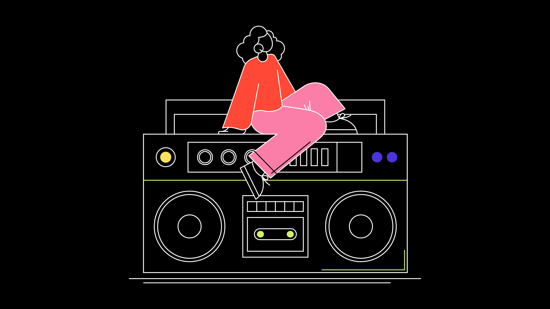Listn Collaborative Music App Boombox Illustration
