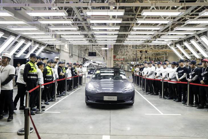 New Tesla rolling off assembly line