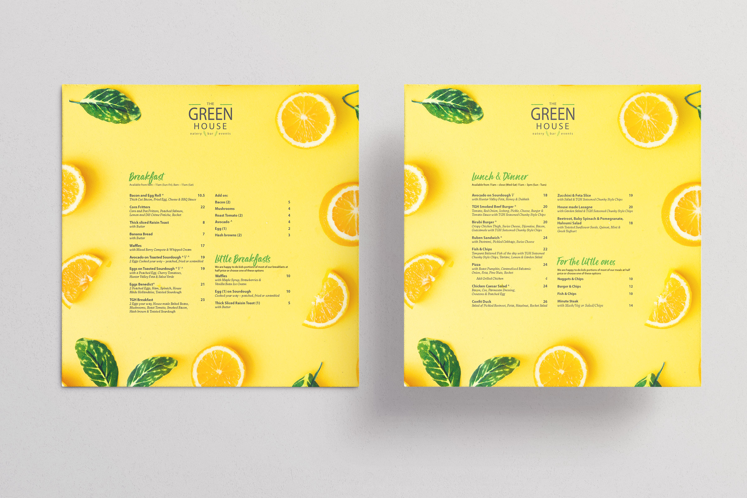 The Greenhouse Eatery Menu design, featuring fresh ingredients photography.