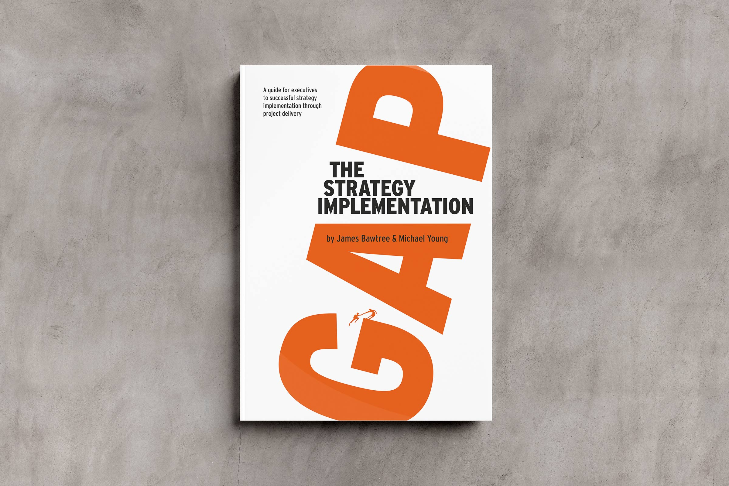The Strategy Implementation Gap Publication cover in white, orange and a little black.