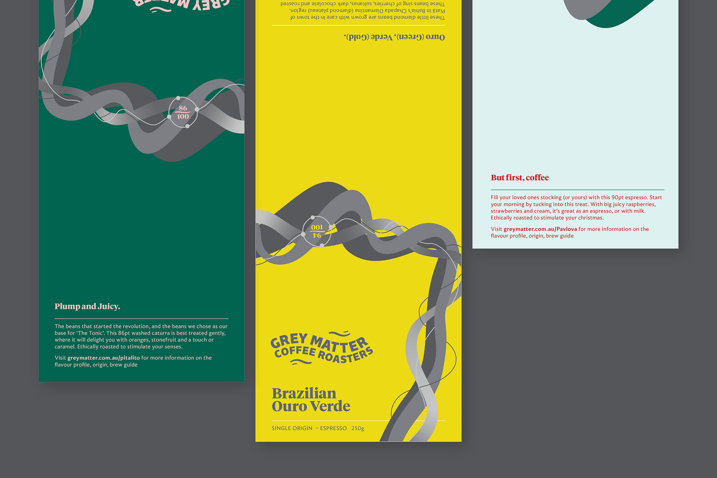 Grey Matter Coffee Roasters brand labels for three different coffees.