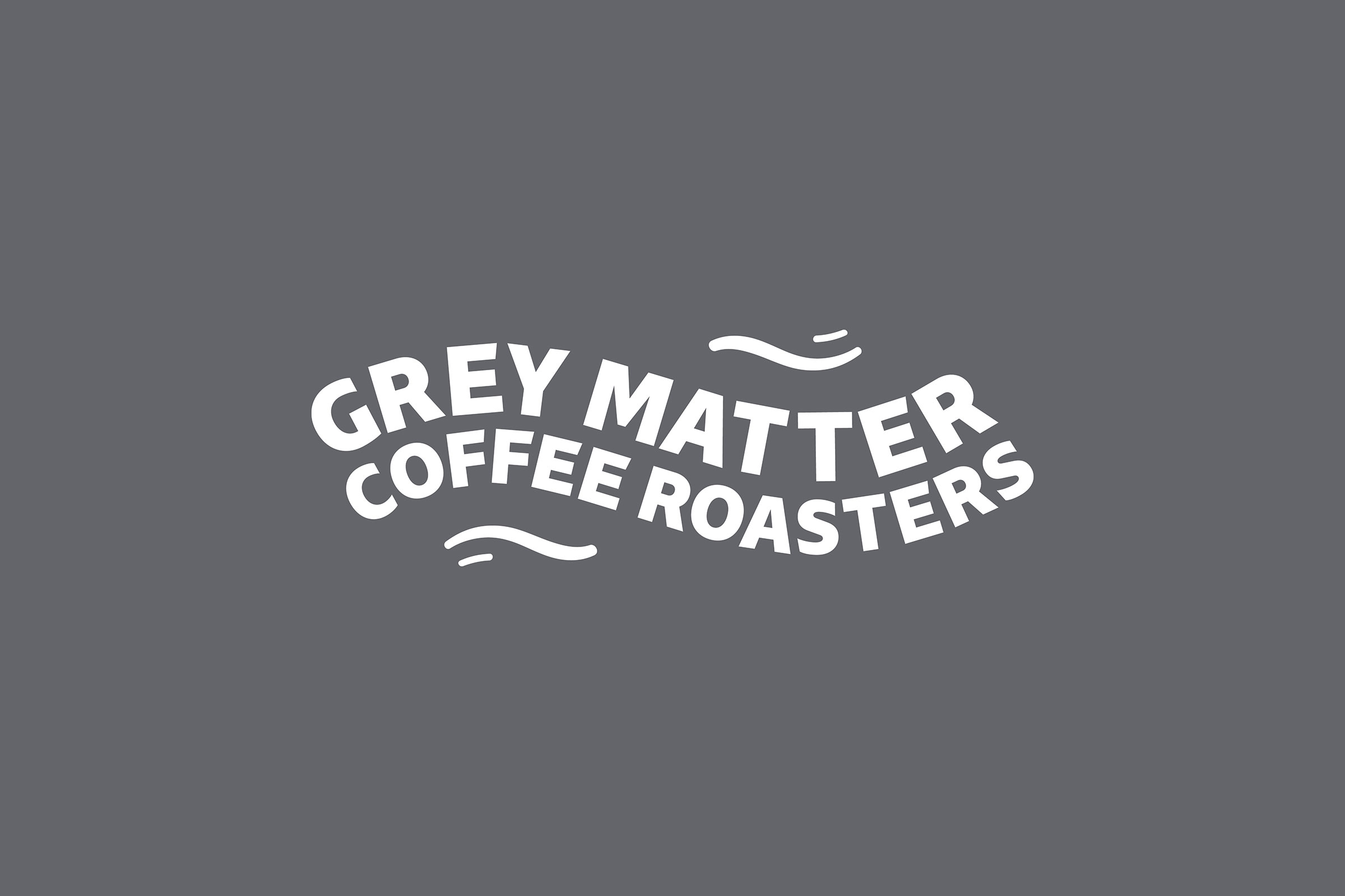 Grey matter logo design. White text on Pantone cool grey background