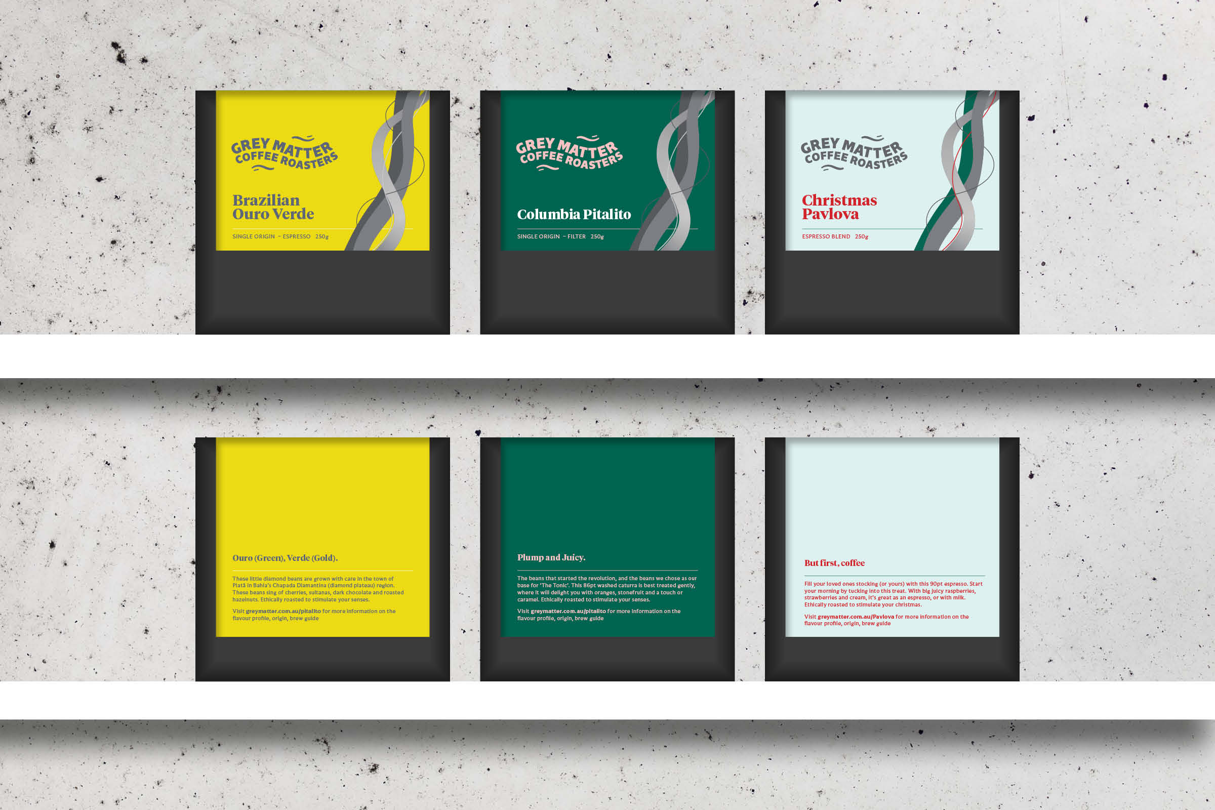 coffee bag packaging mockups for Grey Matter coffee roasters