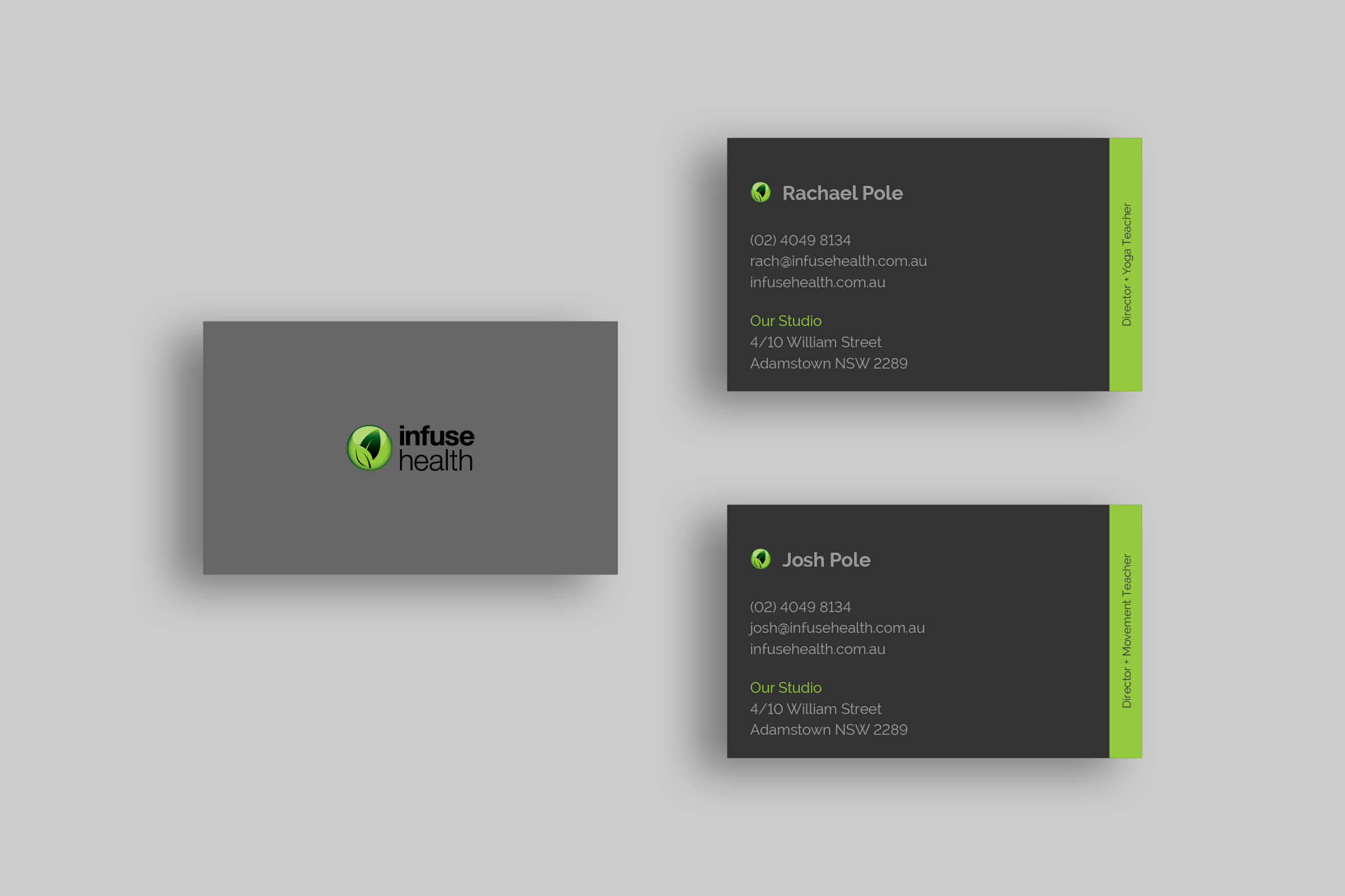grey business cards with a vibrant green brand colour